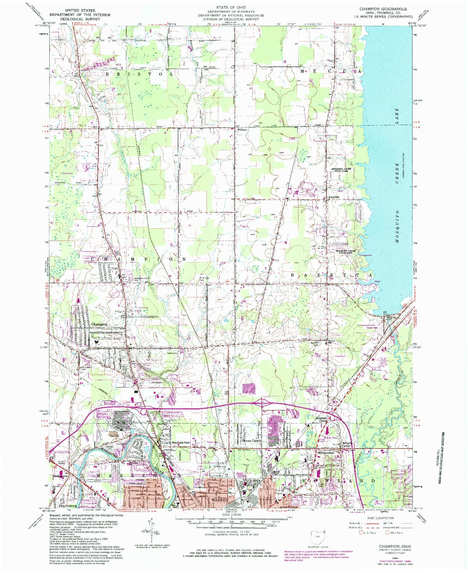 USGS 1:24000-SCALE QUADRANGLE FOR CHAMPION, OH 1960