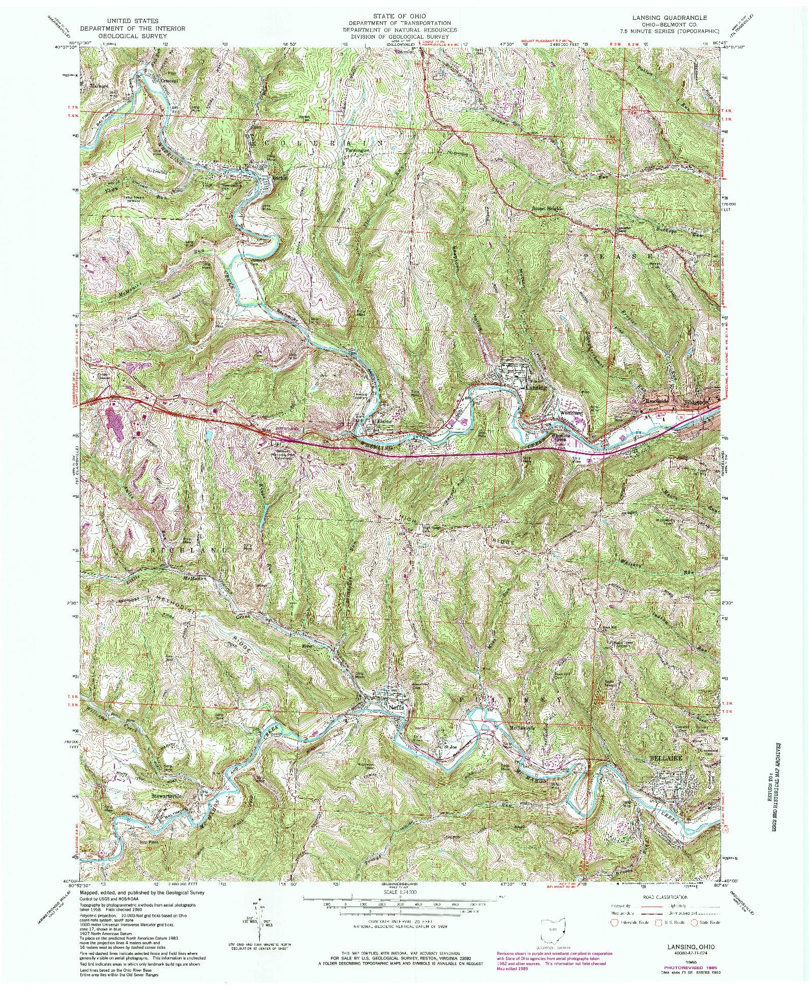 USGS 1:24000-SCALE QUADRANGLE FOR LANSING, OH 1960