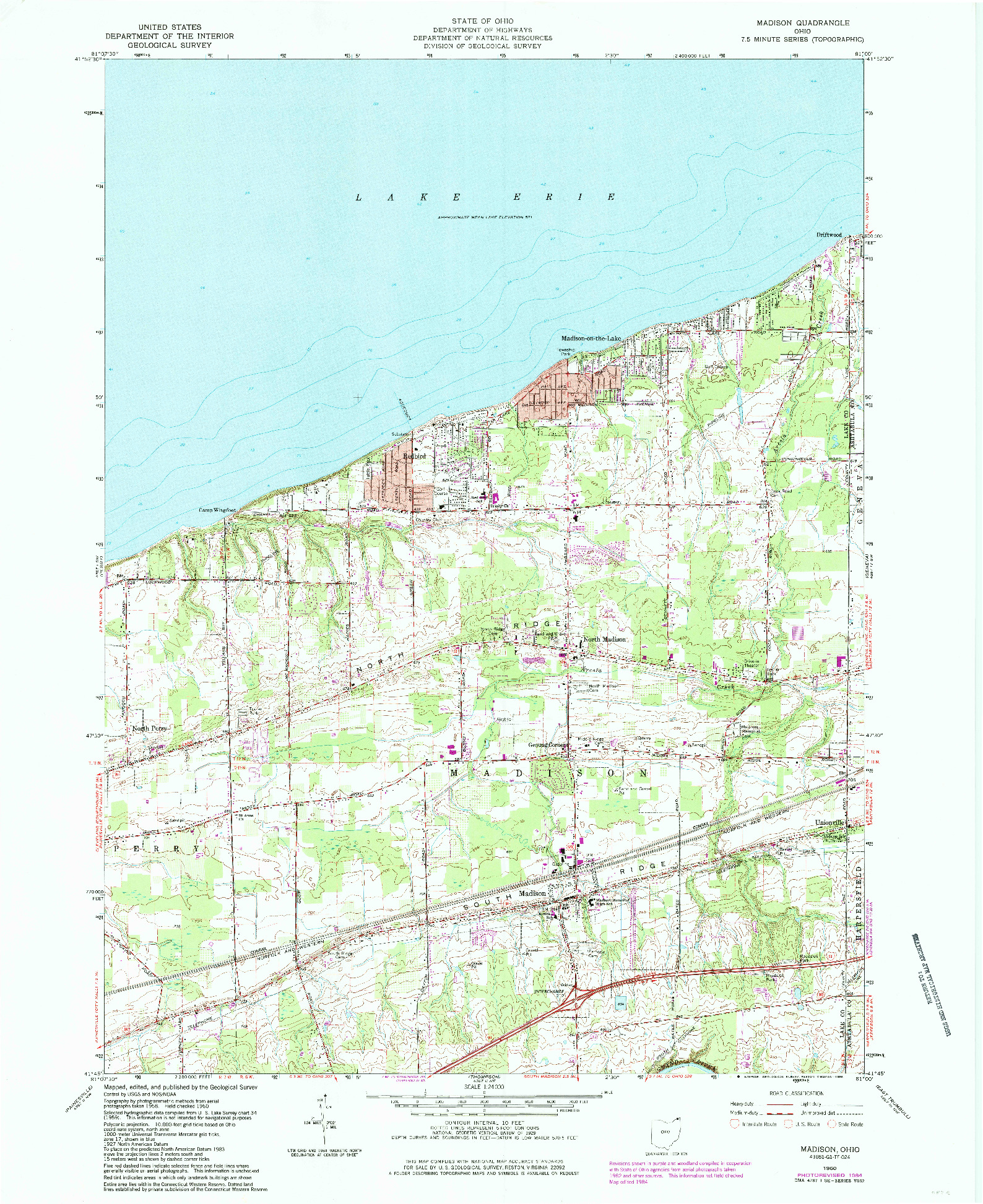 USGS 1:24000-SCALE QUADRANGLE FOR MADISON, OH 1960