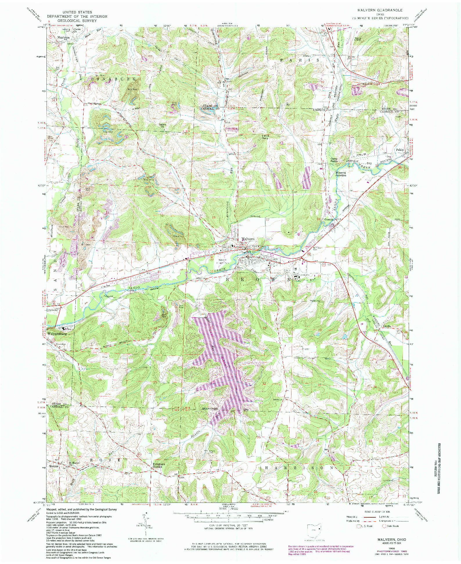 USGS 1:24000-SCALE QUADRANGLE FOR MALVERN, OH 1960