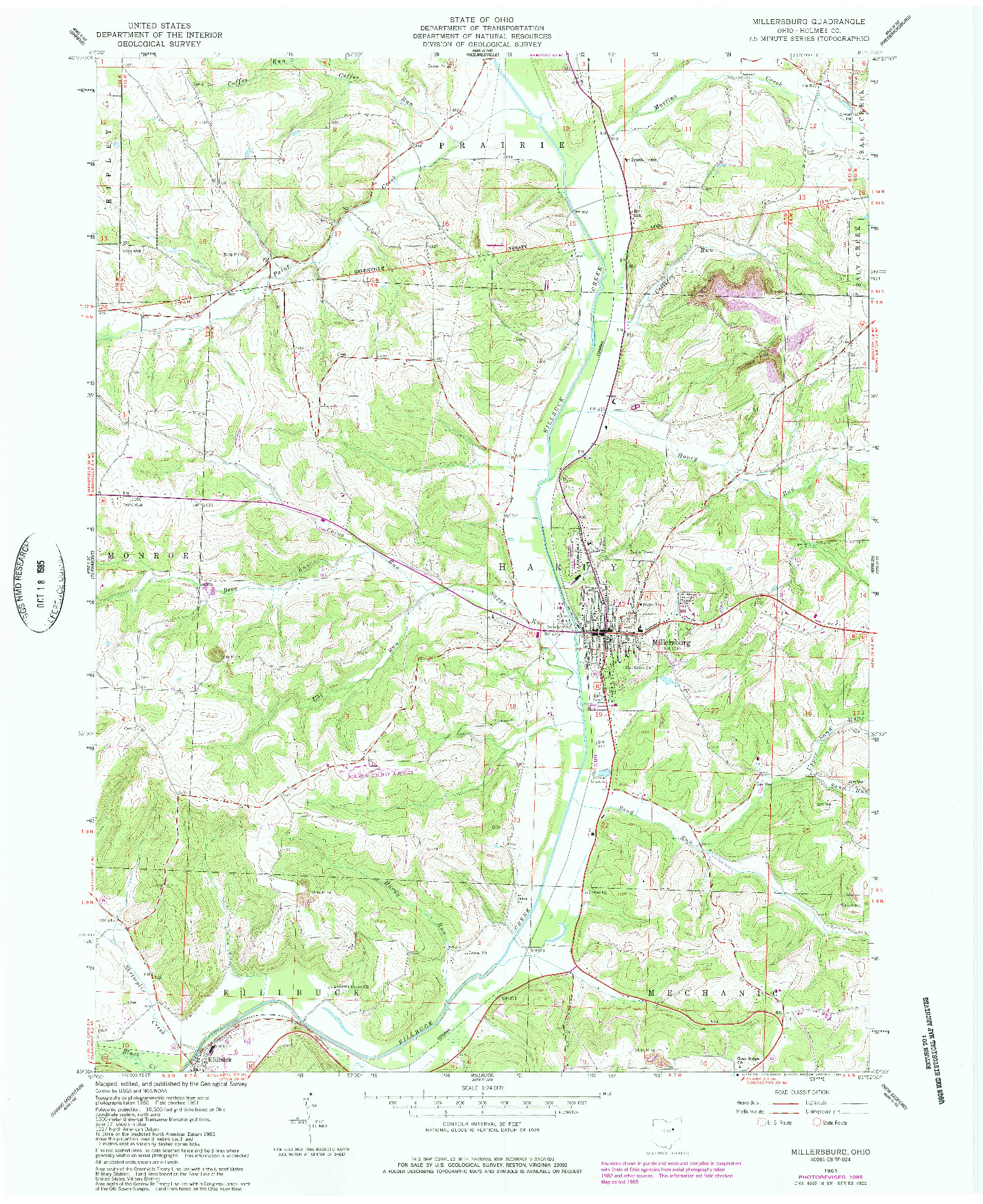 USGS 1:24000-SCALE QUADRANGLE FOR MILLERSBURG, OH 1961
