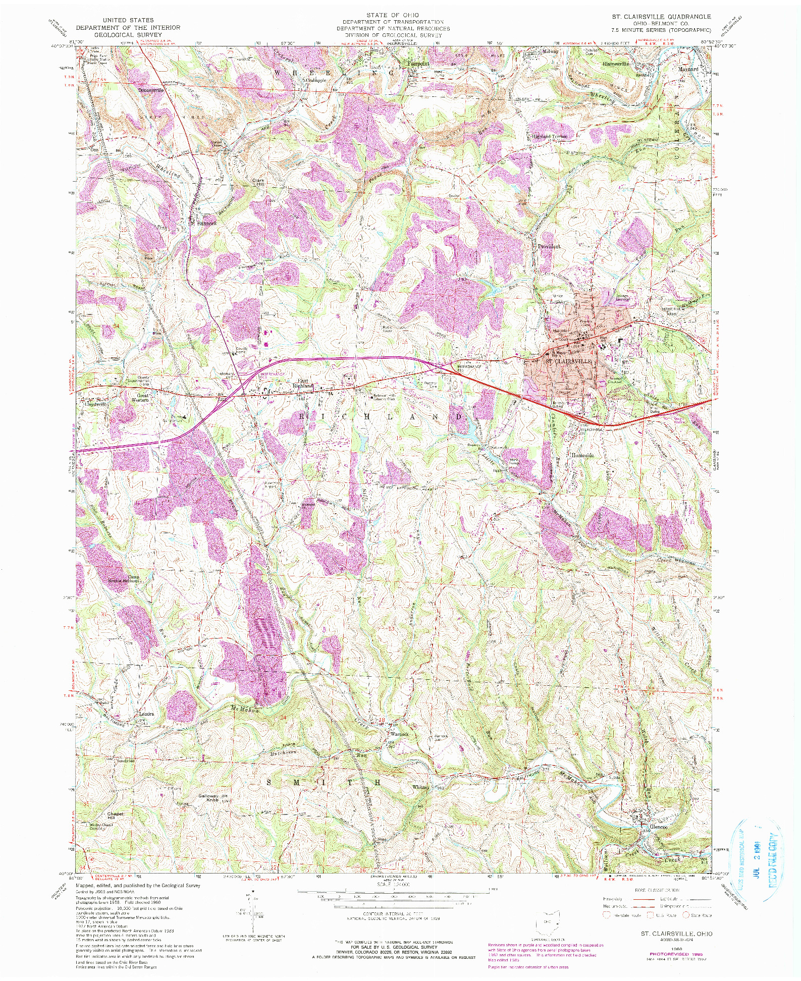 USGS 1:24000-SCALE QUADRANGLE FOR ST. CLAIRSVILLE, OH 1960