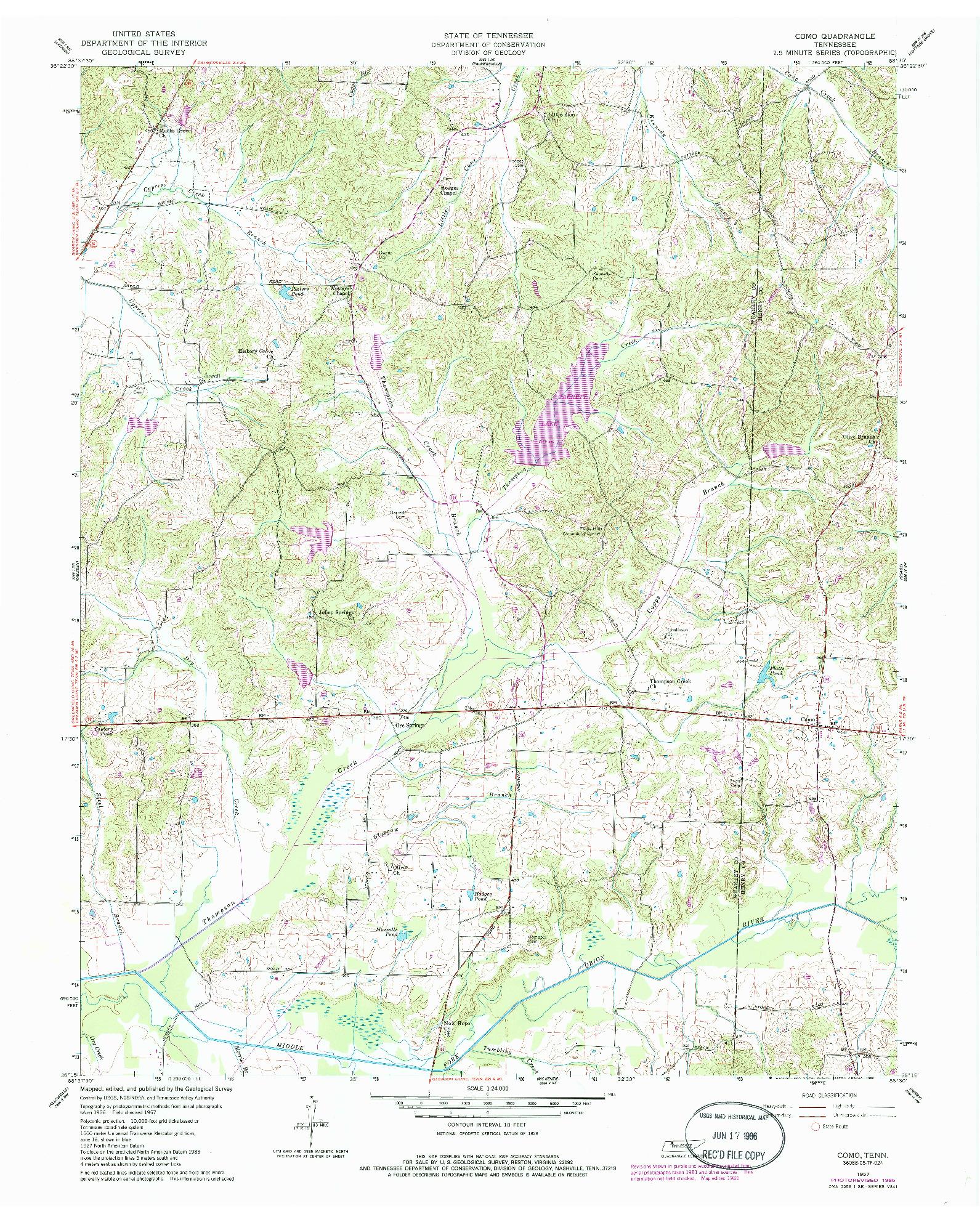 USGS 1:24000-SCALE QUADRANGLE FOR COMO, TN 1957