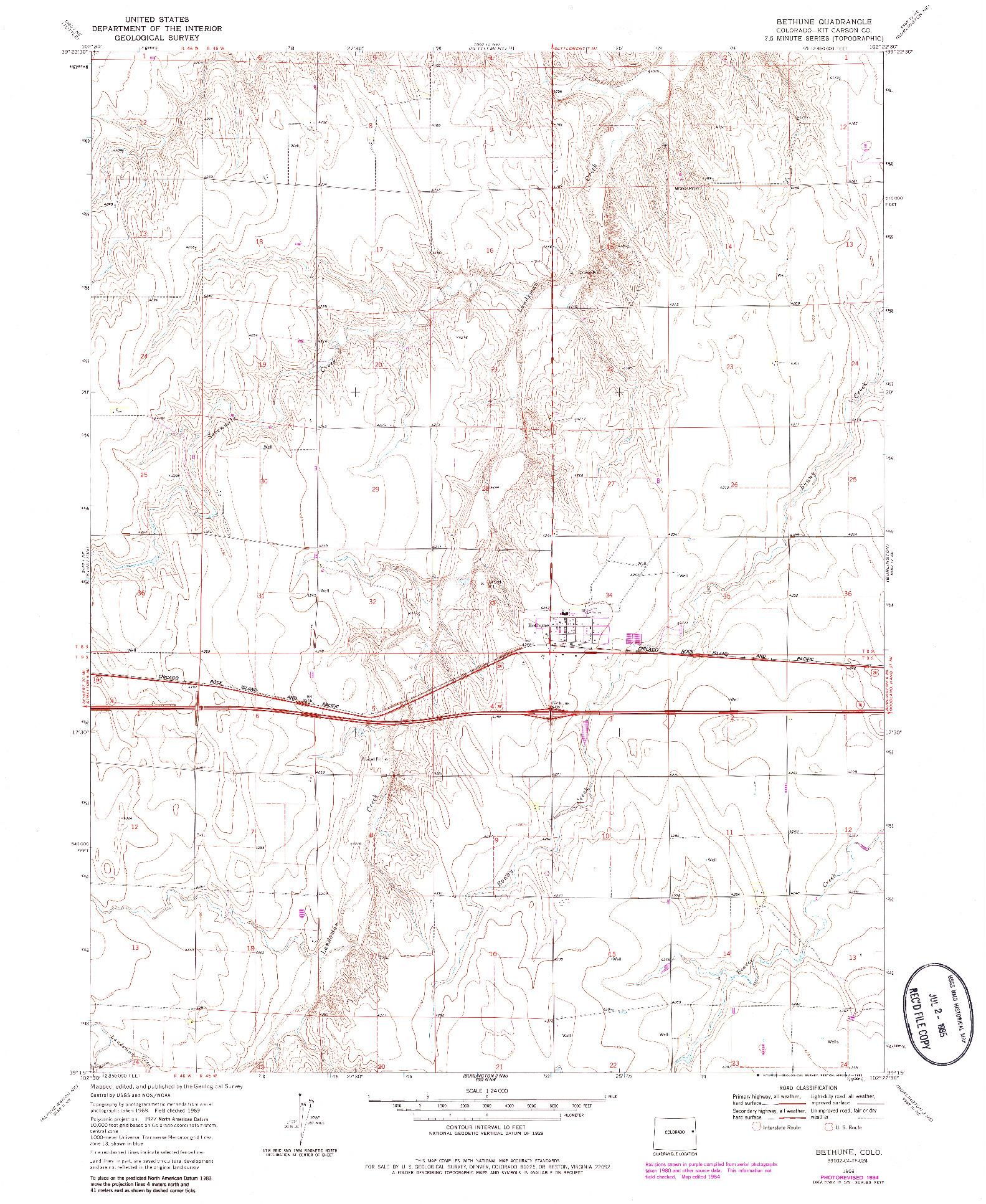 USGS 1:24000-SCALE QUADRANGLE FOR BETHUNE, CO 1969