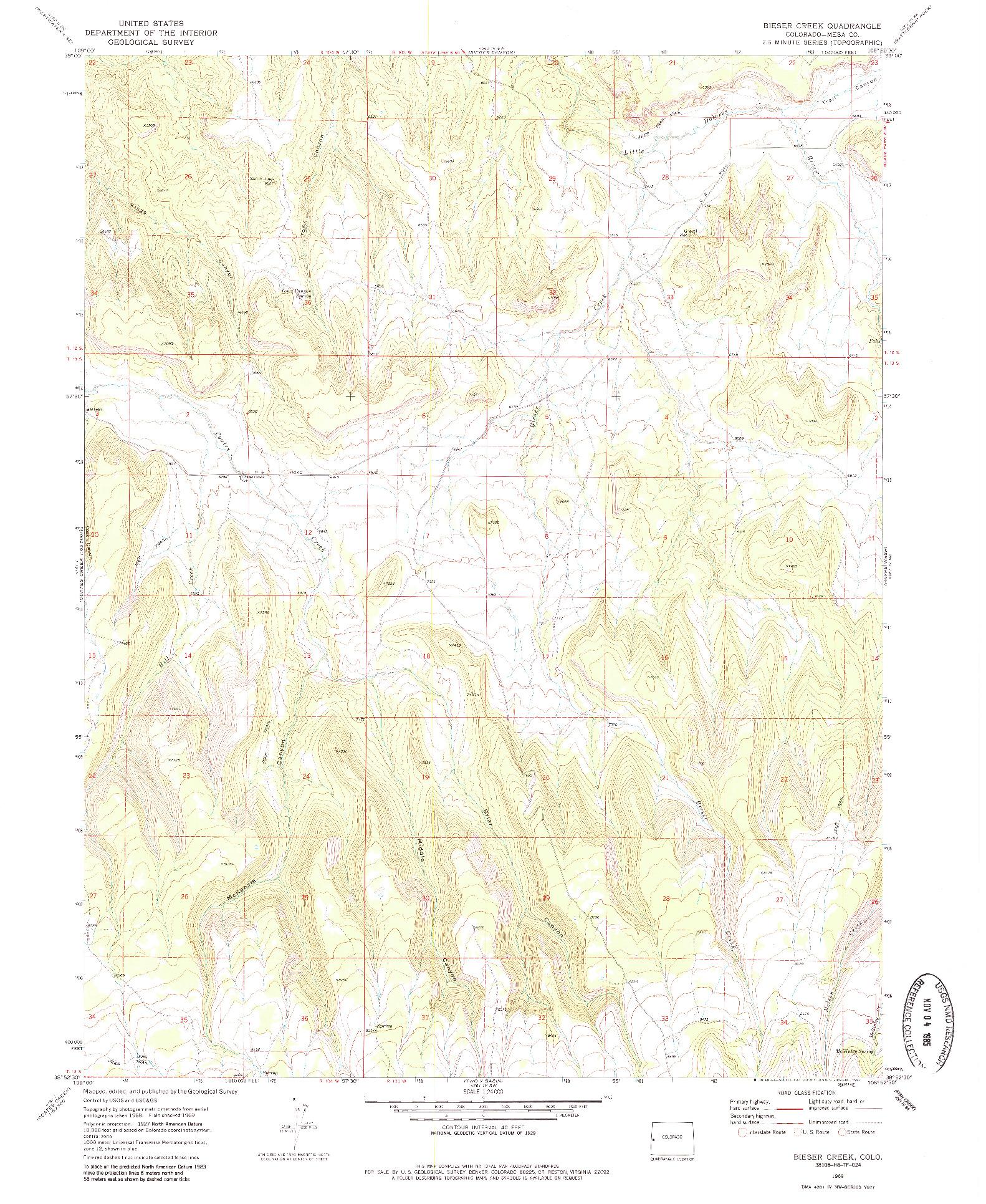 USGS 1:24000-SCALE QUADRANGLE FOR BIESER CREEK, CO 1969