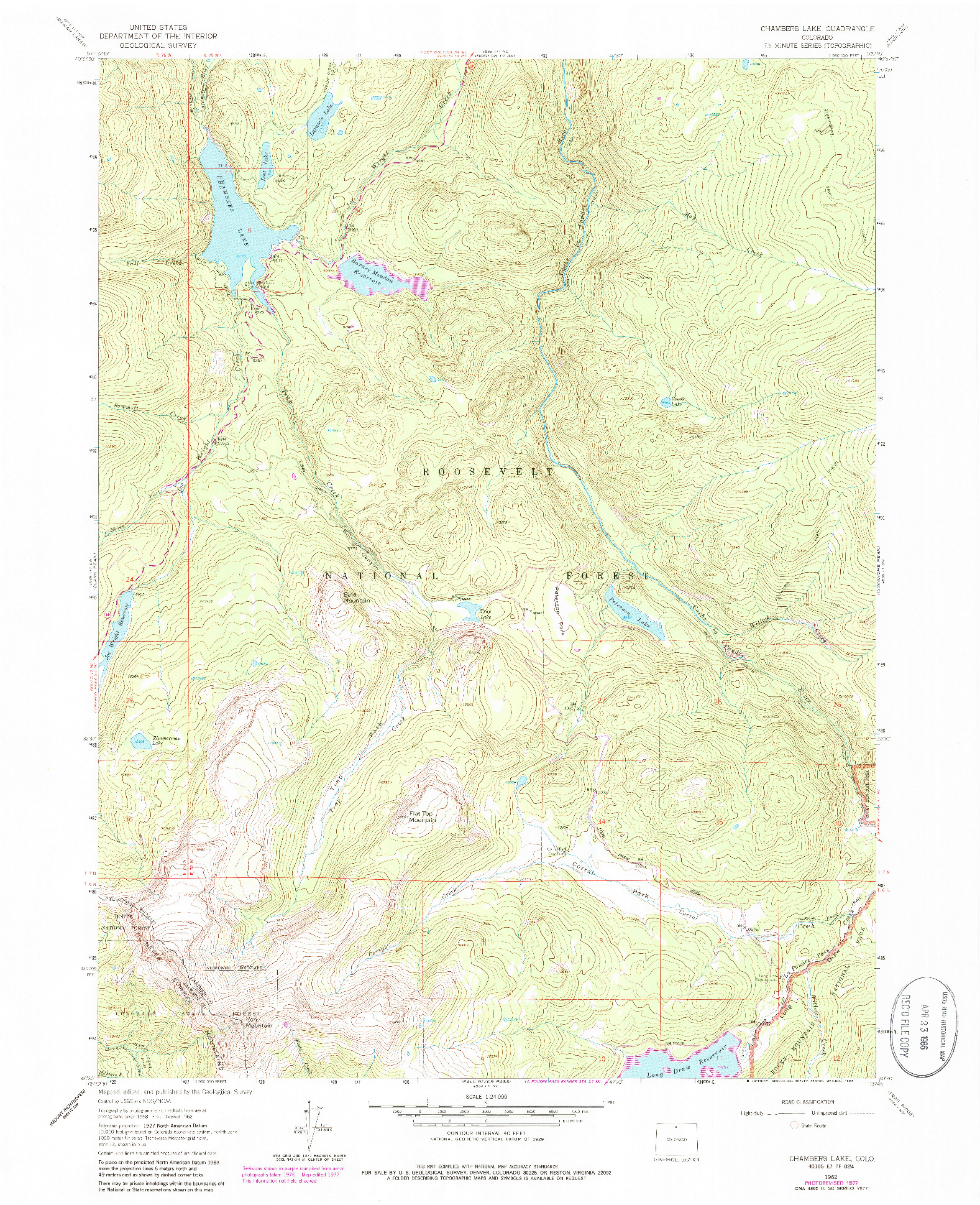 USGS 1:24000-SCALE QUADRANGLE FOR CHAMBERS LAKE, CO 1962