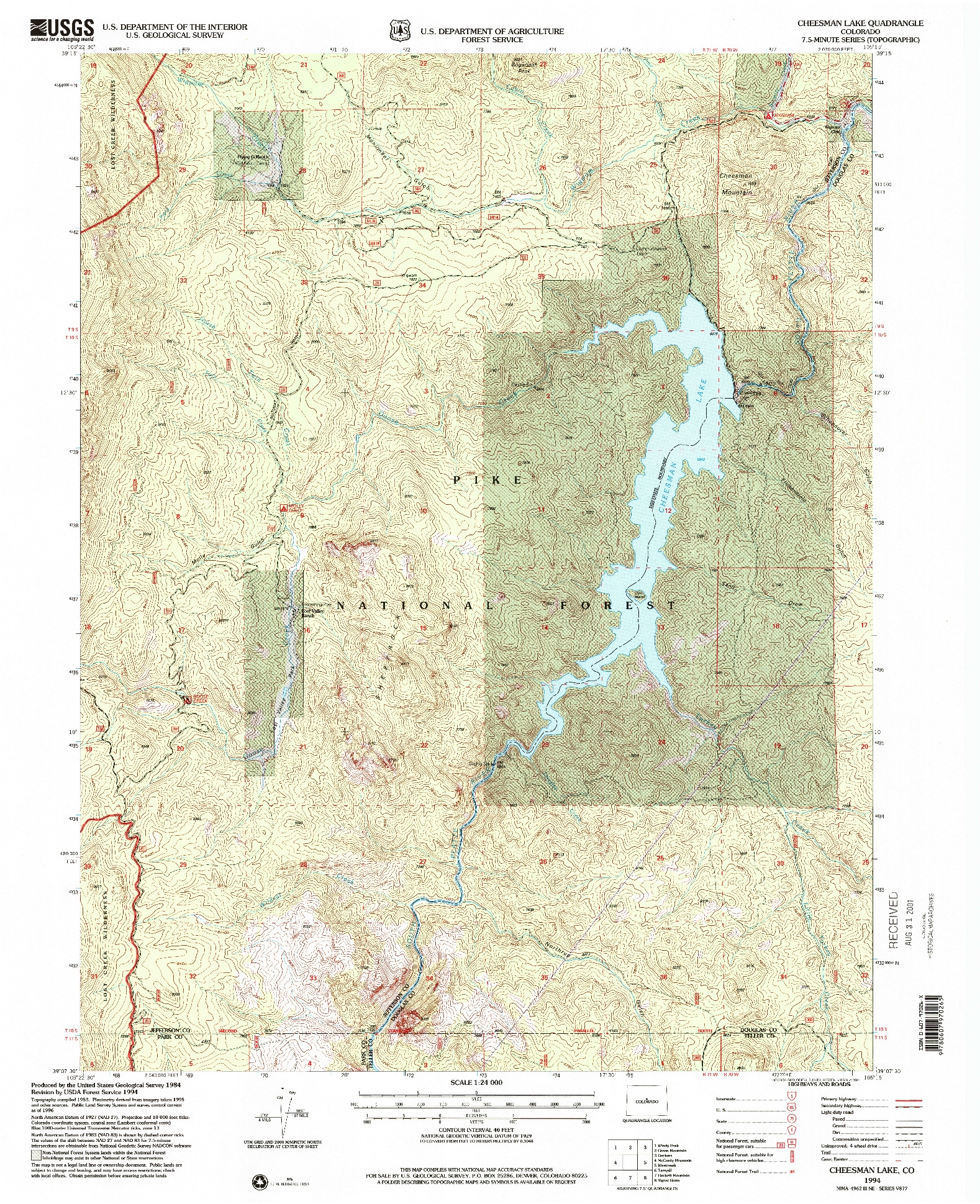 USGS 1:24000-SCALE QUADRANGLE FOR CHEESMAN LAKE, CO 1956