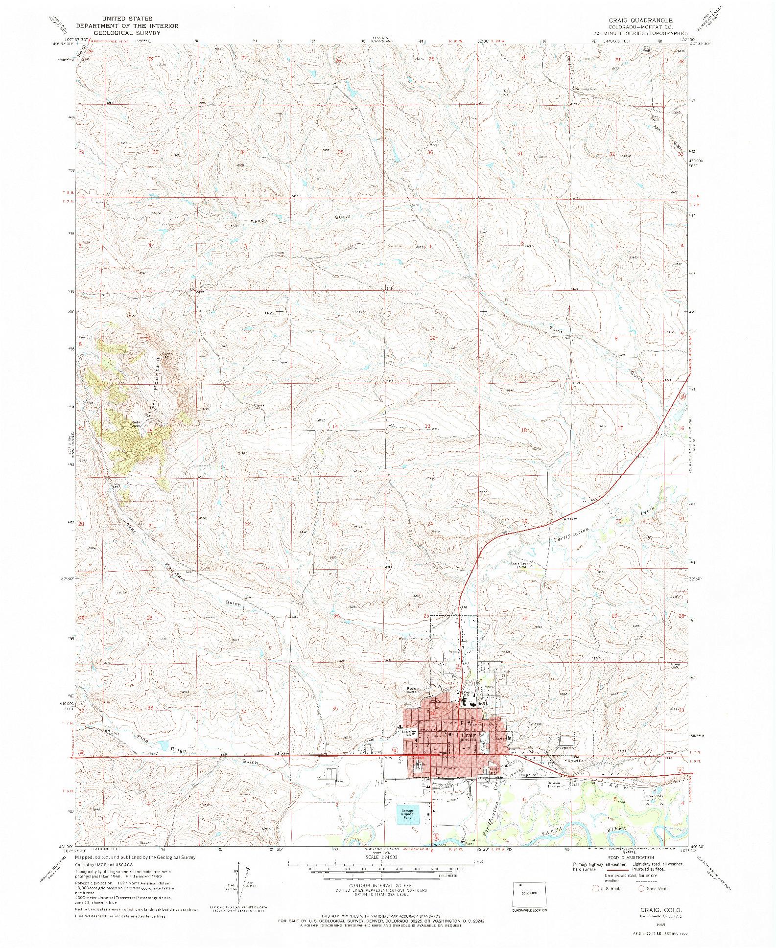 USGS 1:24000-SCALE QUADRANGLE FOR CRAIG, CO 1969