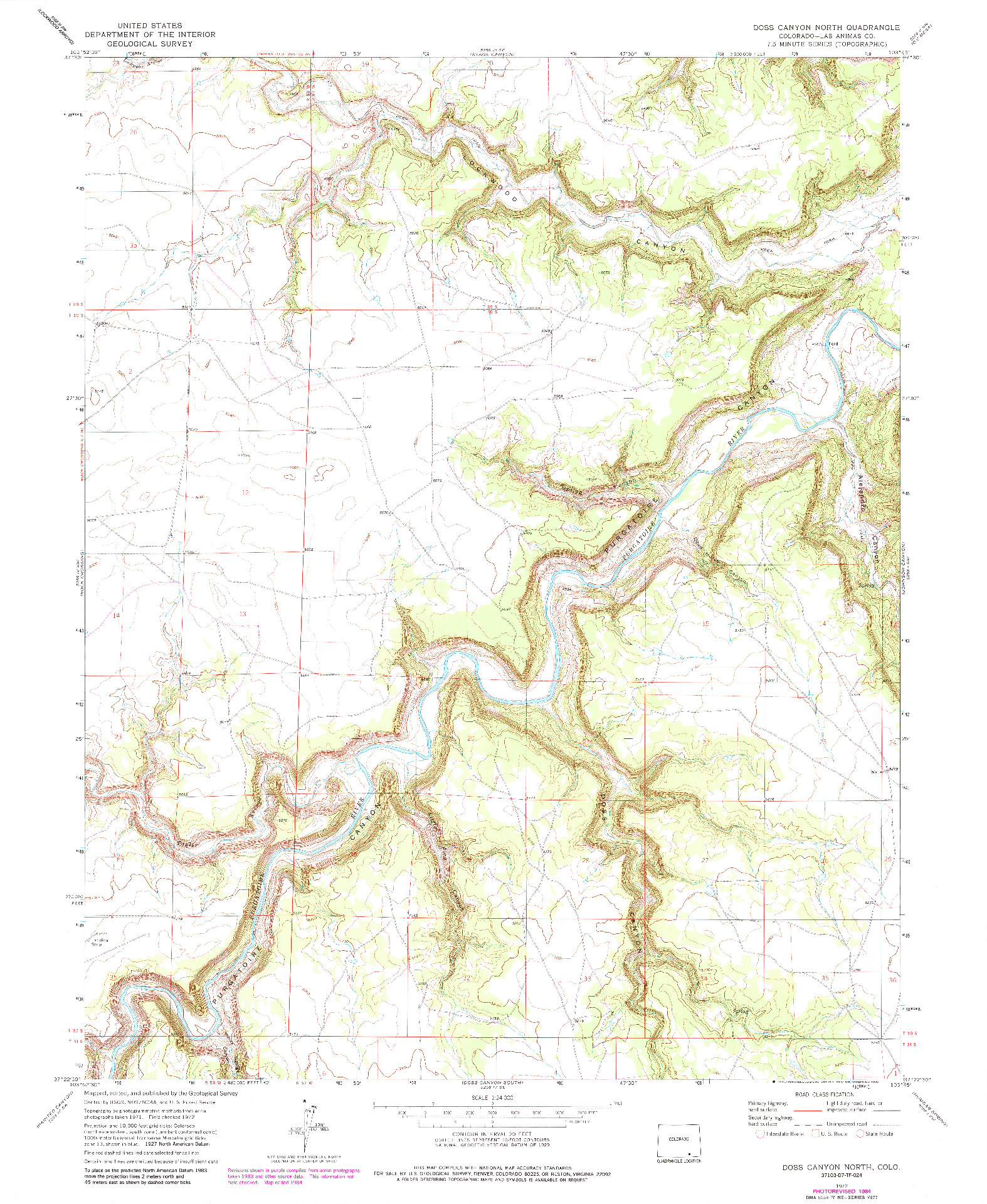 USGS 1:24000-SCALE QUADRANGLE FOR DOSS CANYON NORTH, CO 1972
