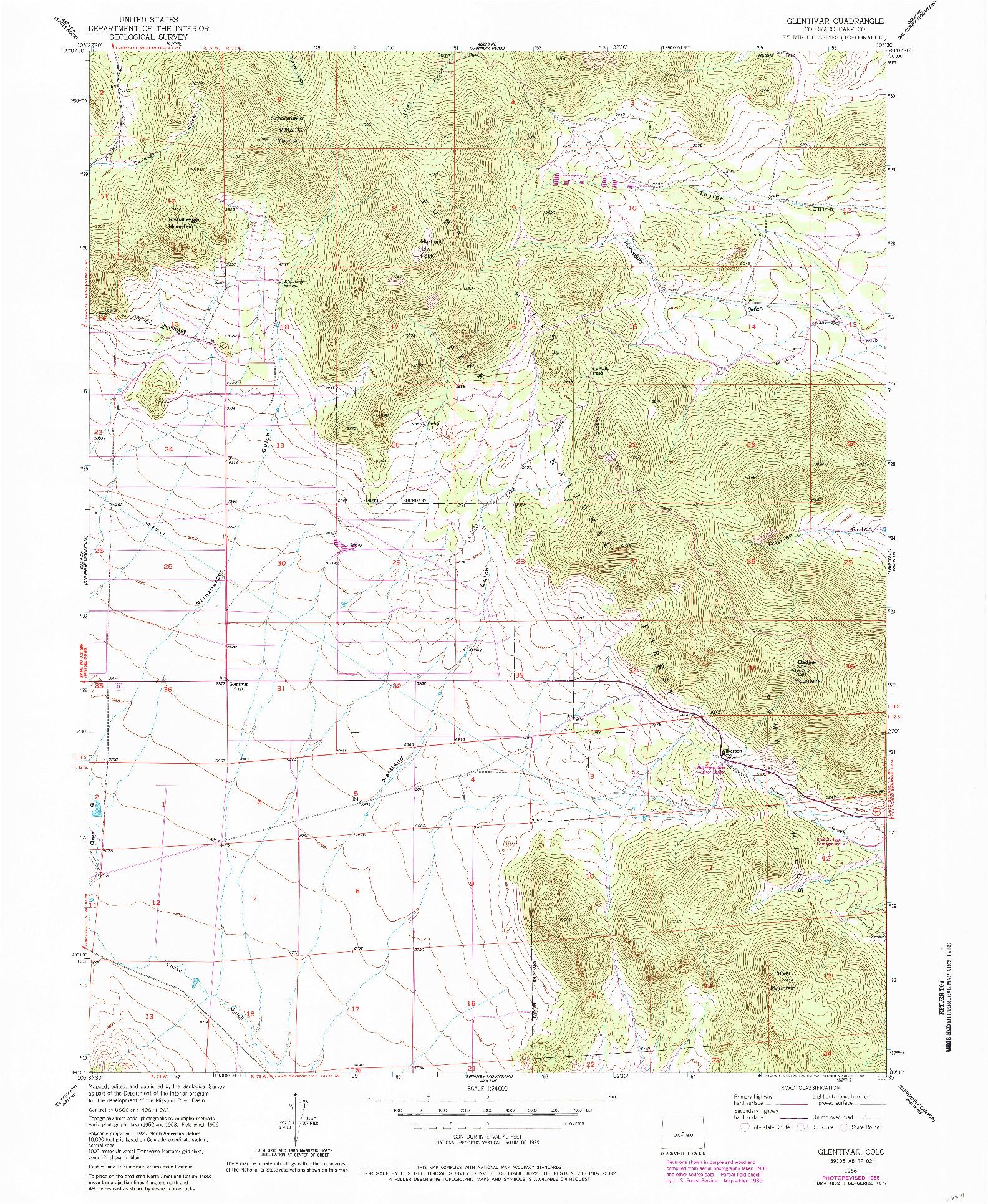USGS 1:24000-SCALE QUADRANGLE FOR GLENTIVAR, CO 1956