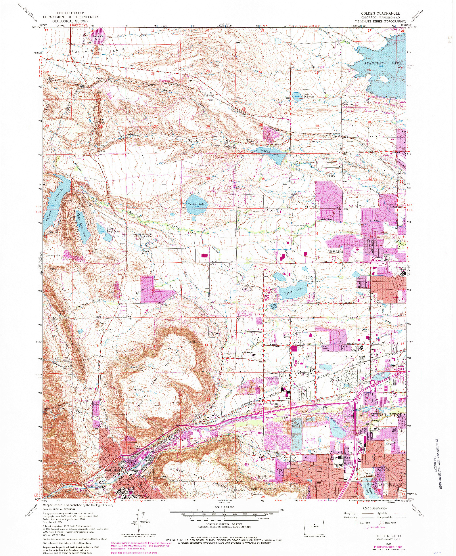 USGS 1:24000-SCALE QUADRANGLE FOR GOLDEN, CO 1965