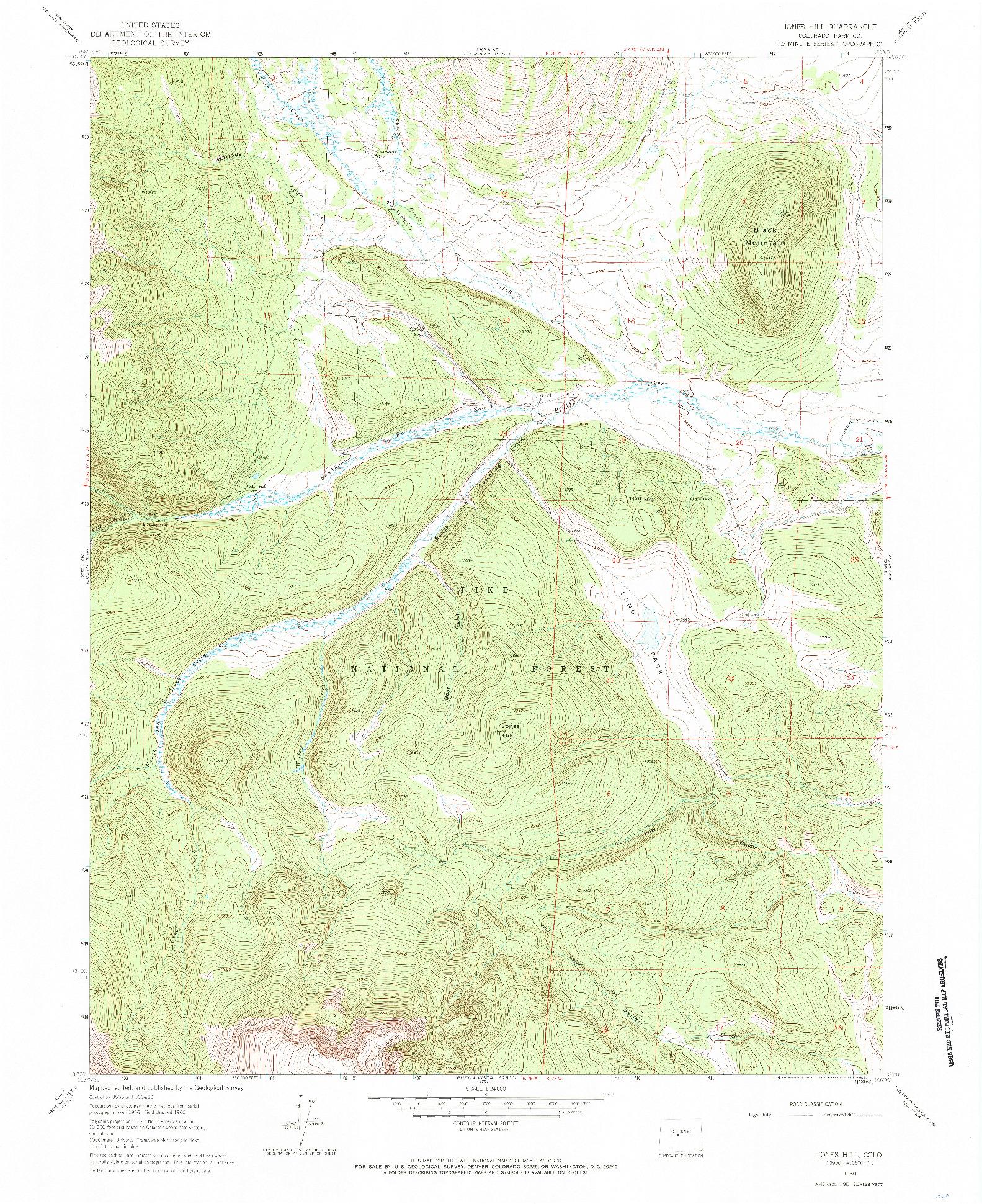 USGS 1:24000-SCALE QUADRANGLE FOR JONES HILL, CO 1960
