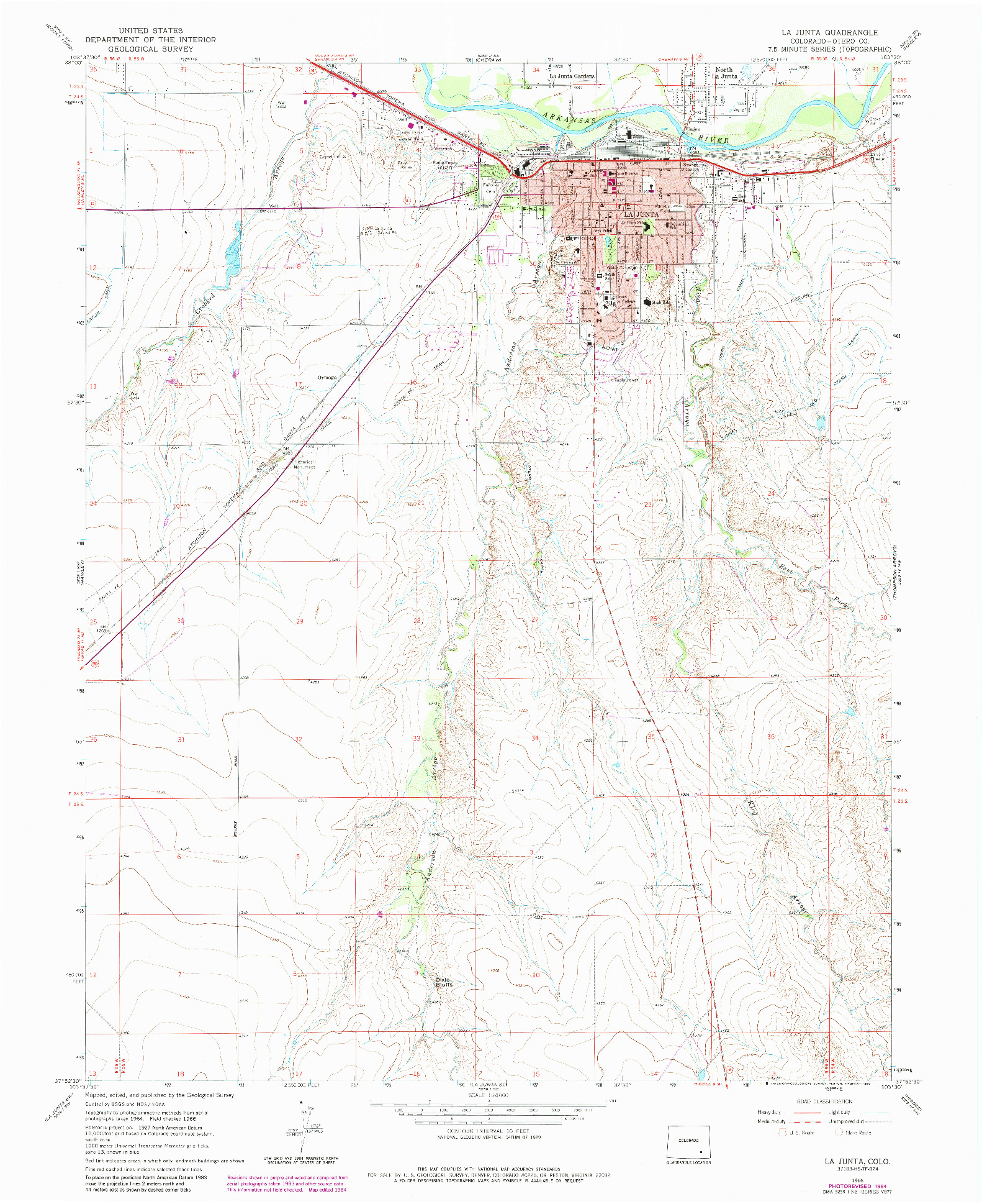 USGS 1:24000-SCALE QUADRANGLE FOR LA JUNTA, CO 1966