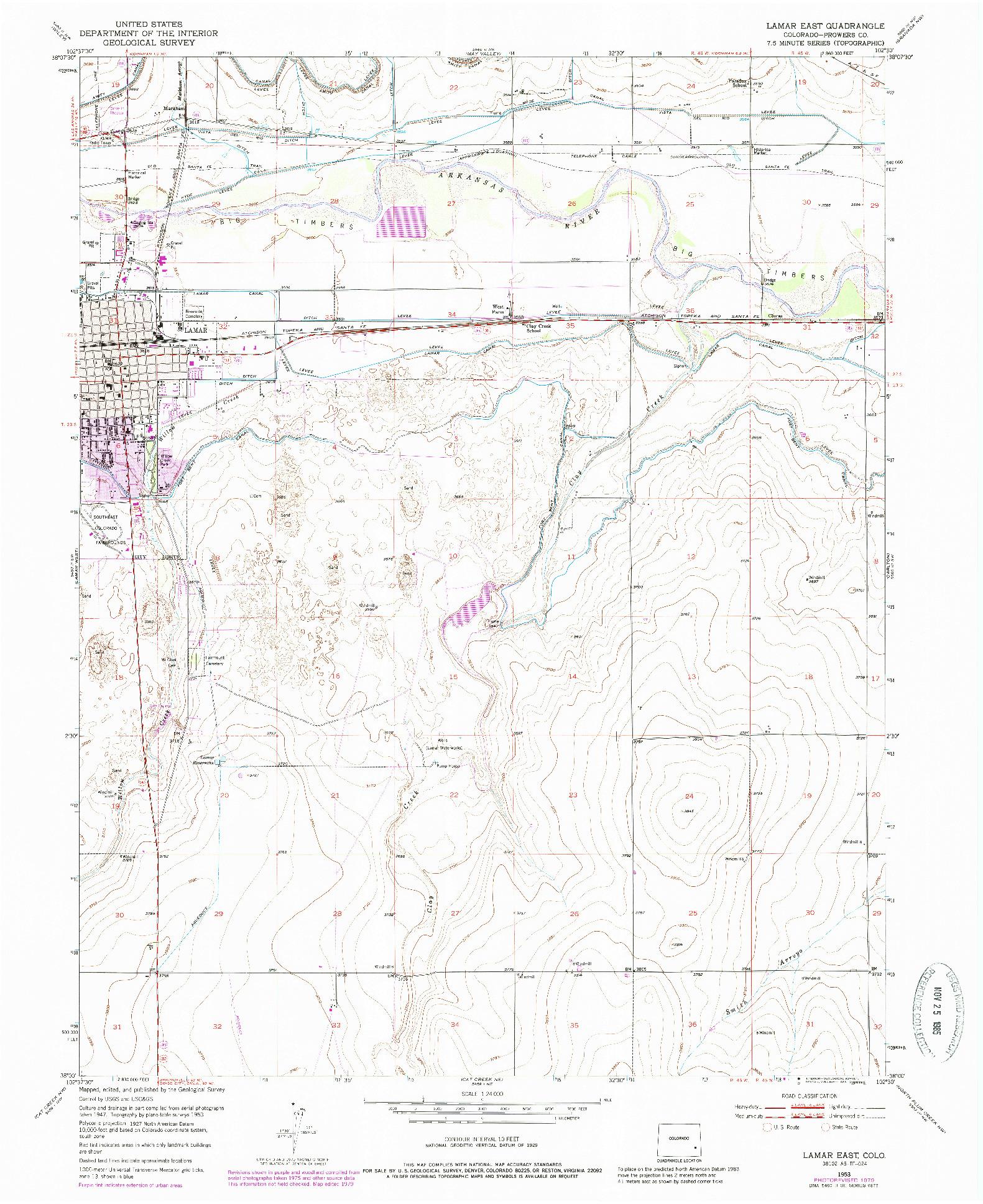 USGS 1:24000-SCALE QUADRANGLE FOR LAMAR EAST, CO 1953