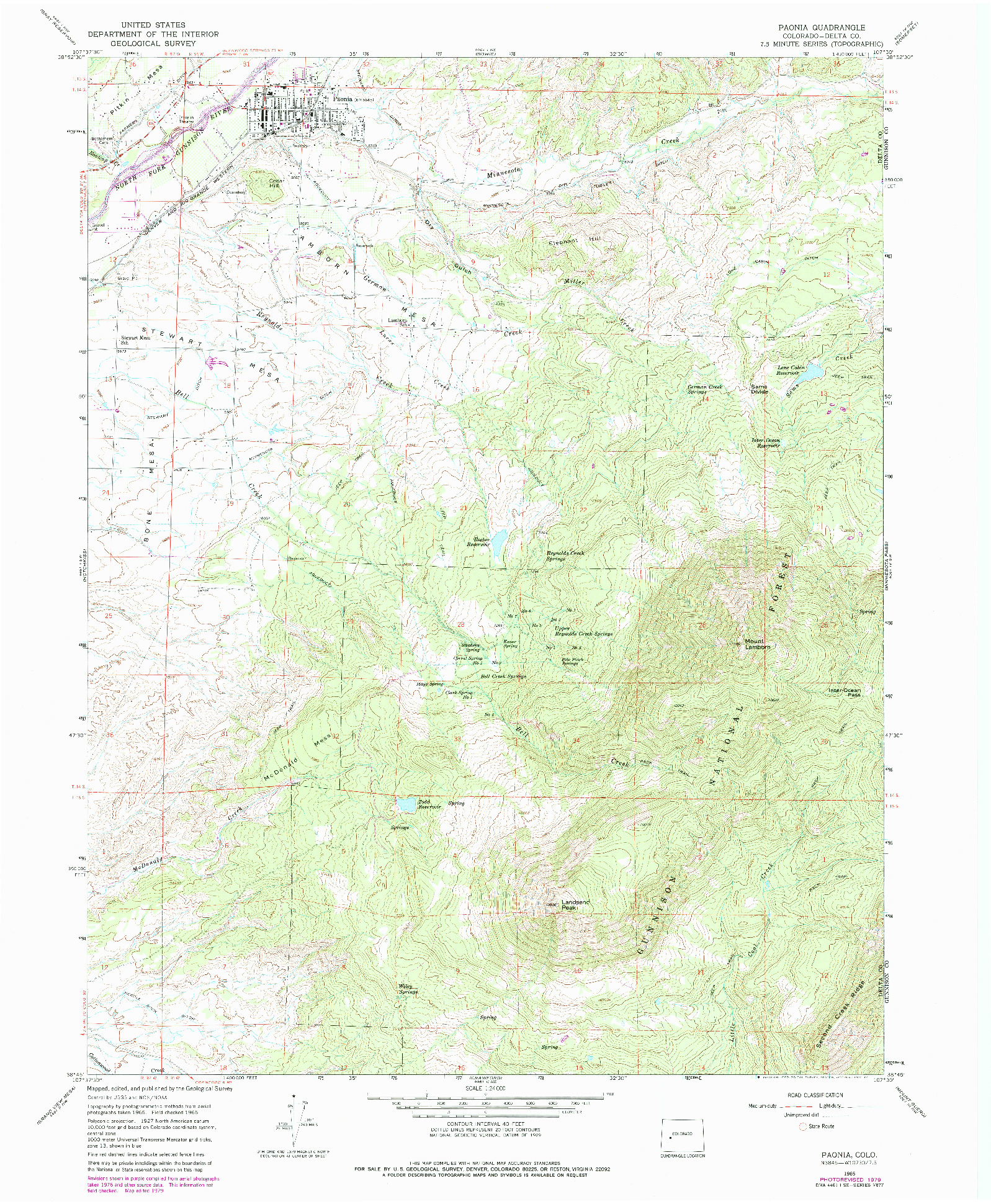 USGS 1:24000-SCALE QUADRANGLE FOR PAONIA, CO 1965