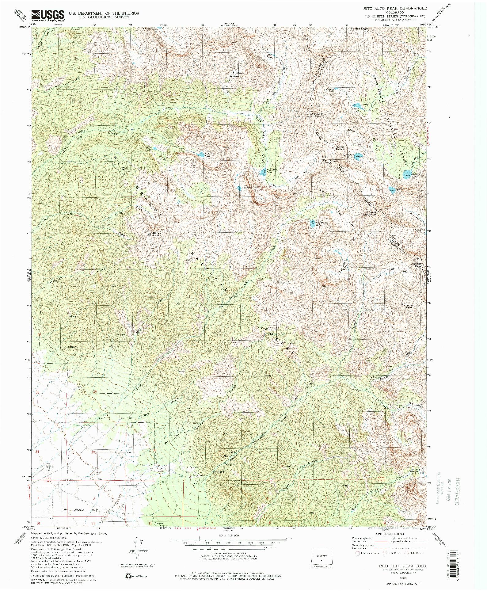USGS 1:24000-SCALE QUADRANGLE FOR RIO ALTO PEAK, CO 1980