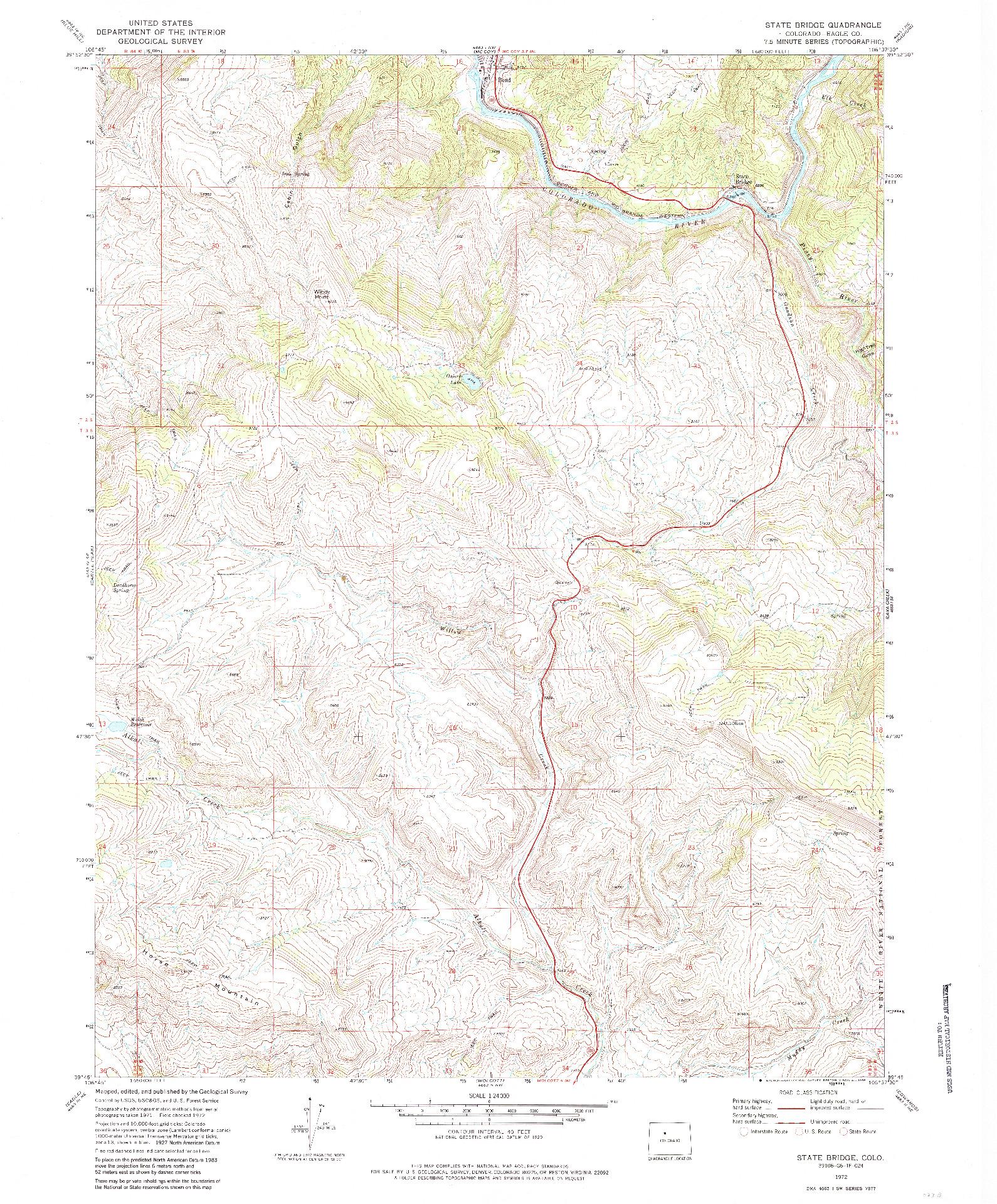 USGS 1:24000-SCALE QUADRANGLE FOR STATE BRIDGE, CO 1972