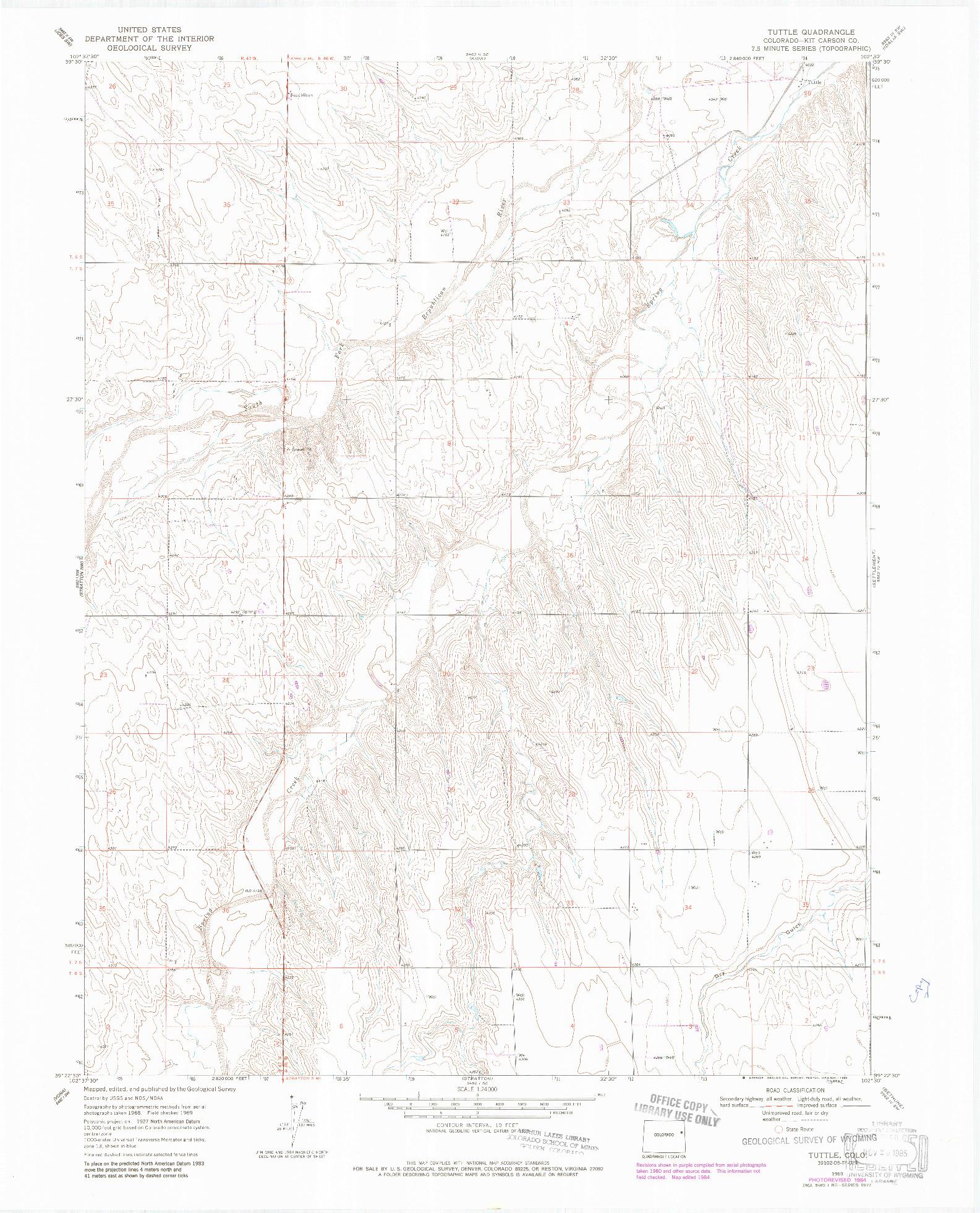 USGS 1:24000-SCALE QUADRANGLE FOR TUTTLE, CO 1969