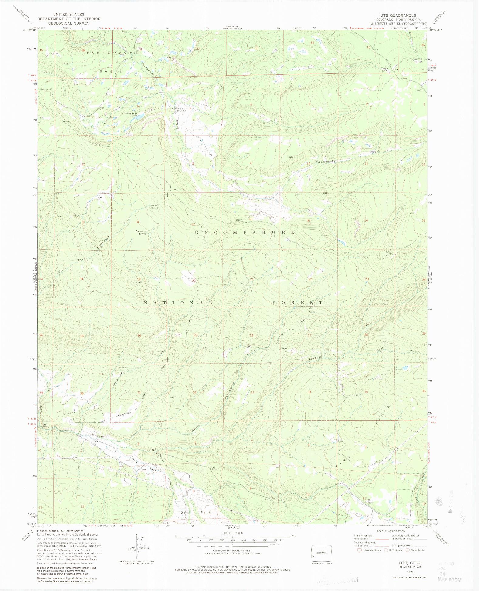 USGS 1:24000-SCALE QUADRANGLE FOR UTE, CO 1973