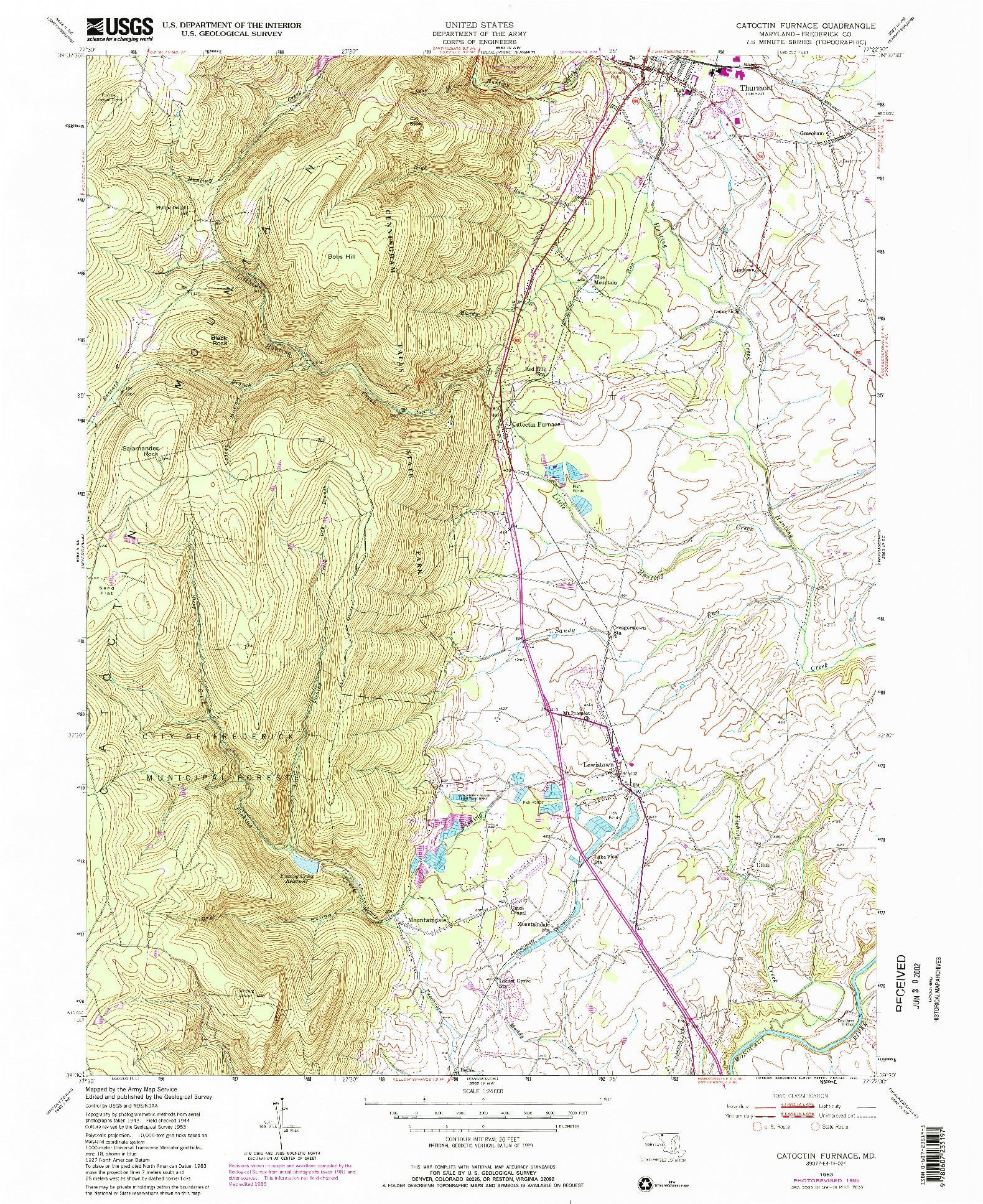 USGS 1:24000-SCALE QUADRANGLE FOR CATOCTIN FURNACE, MD 1953