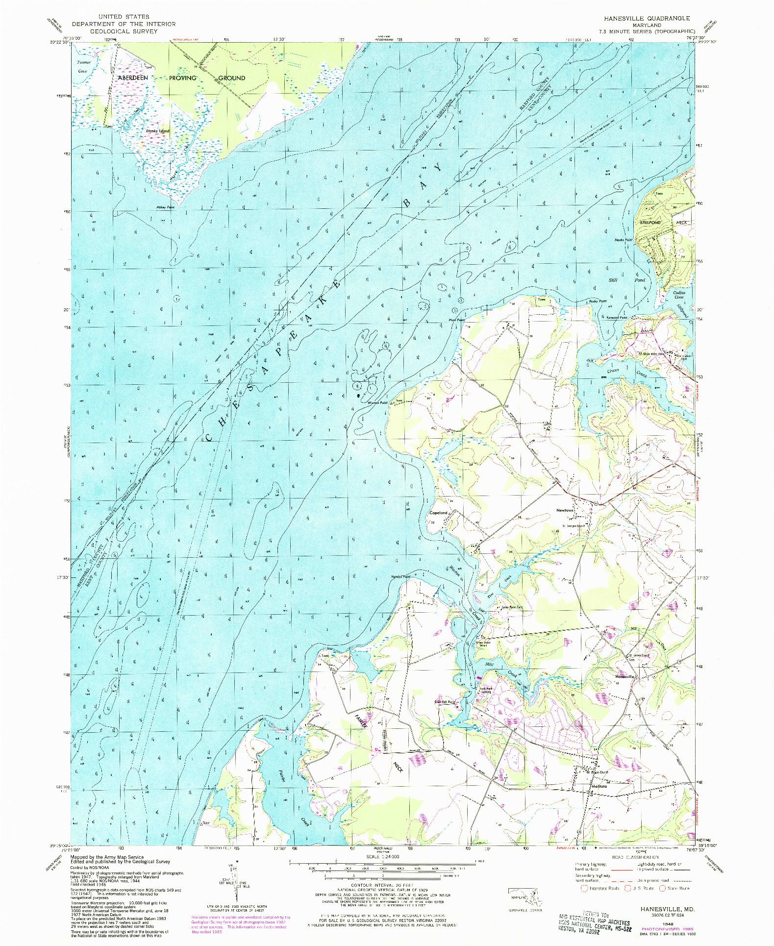 USGS 1:24000-SCALE QUADRANGLE FOR HANESVILLE, MD 1948