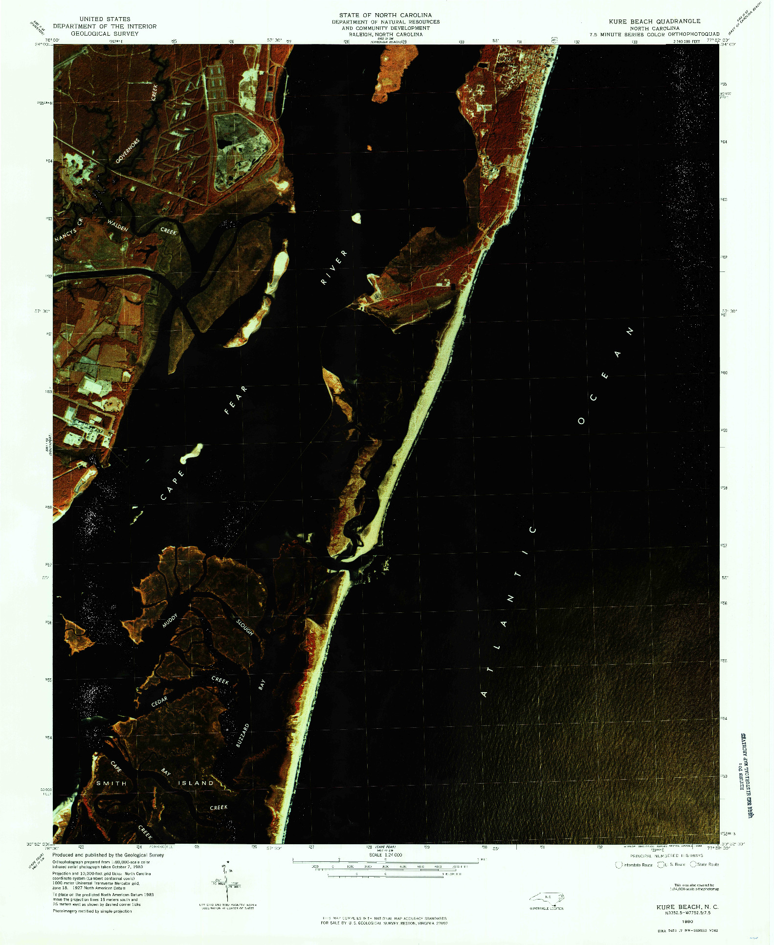 USGS 1:24000-SCALE QUADRANGLE FOR KURE BEACH, NC 1980