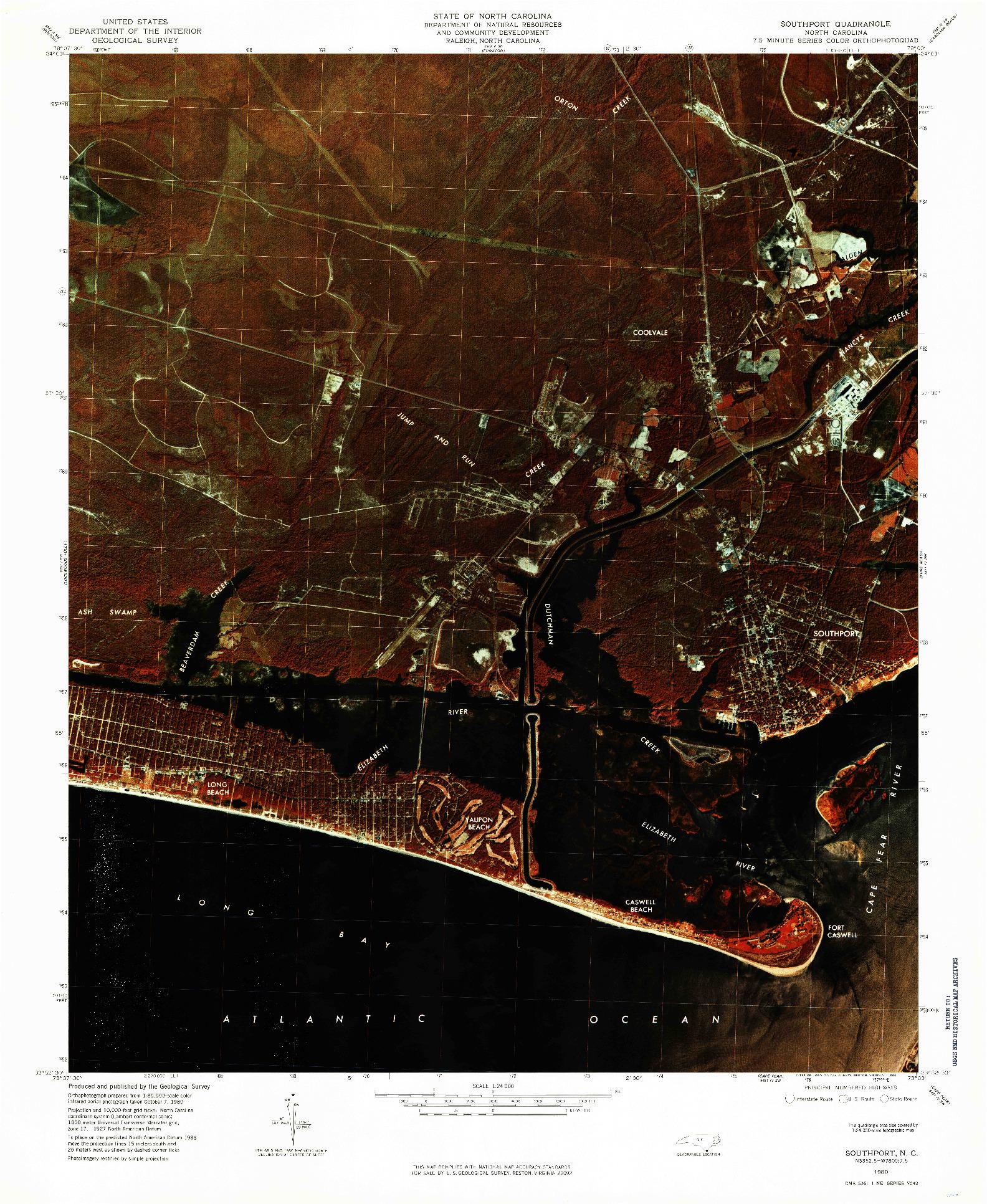 USGS 1:24000-SCALE QUADRANGLE FOR SOUTHPORT, NC 1980