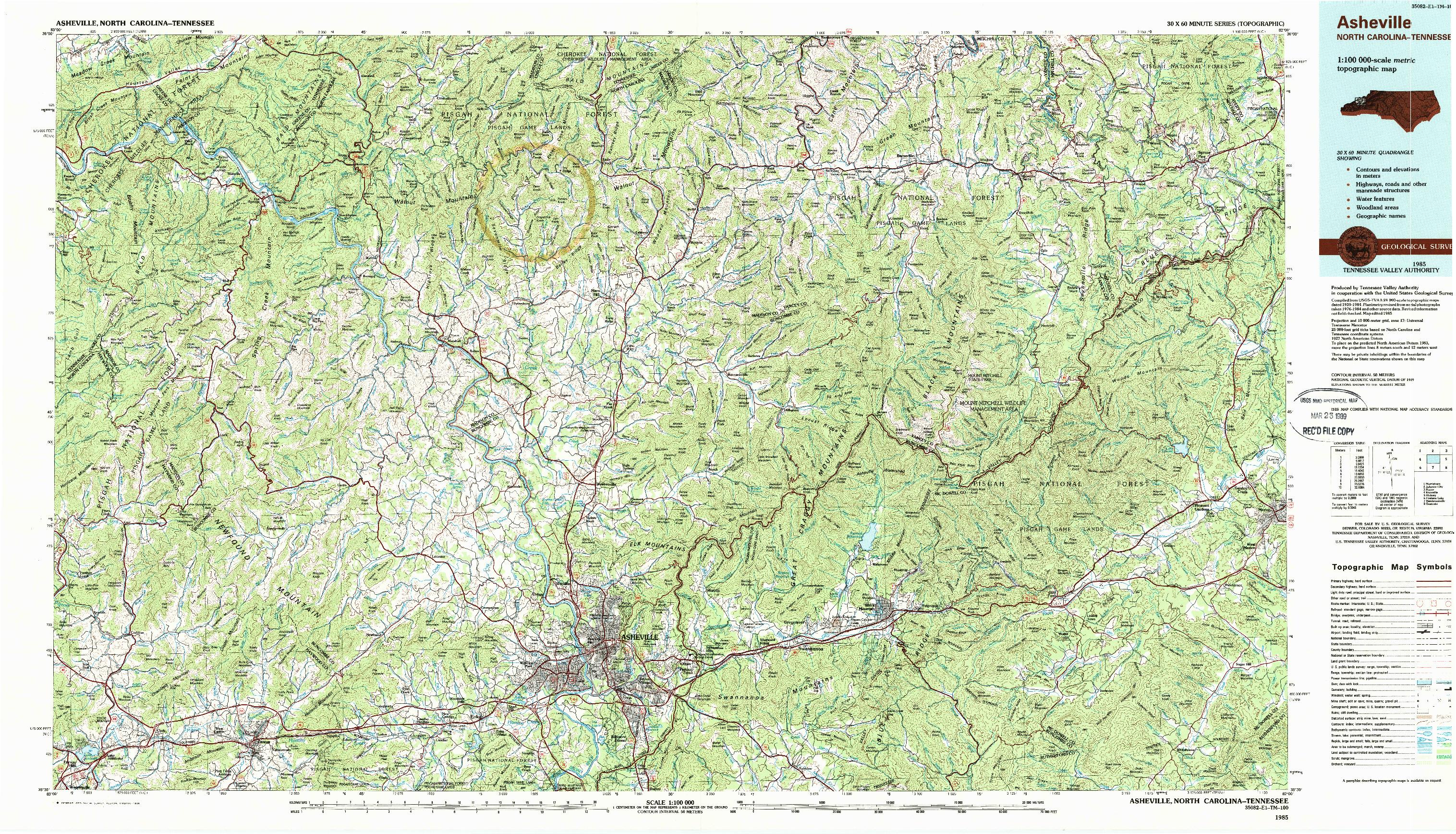 USGS 1:100000-SCALE QUADRANGLE FOR ASHEVILLE, NC 1985