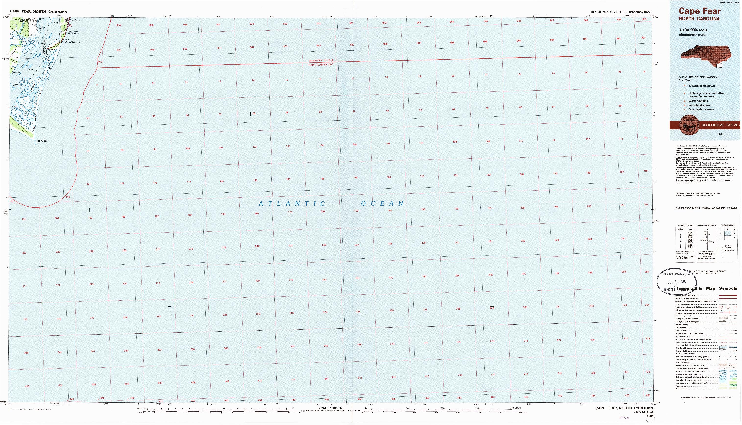 USGS 1:100000-SCALE QUADRANGLE FOR CAPE FEAR, NC 1984