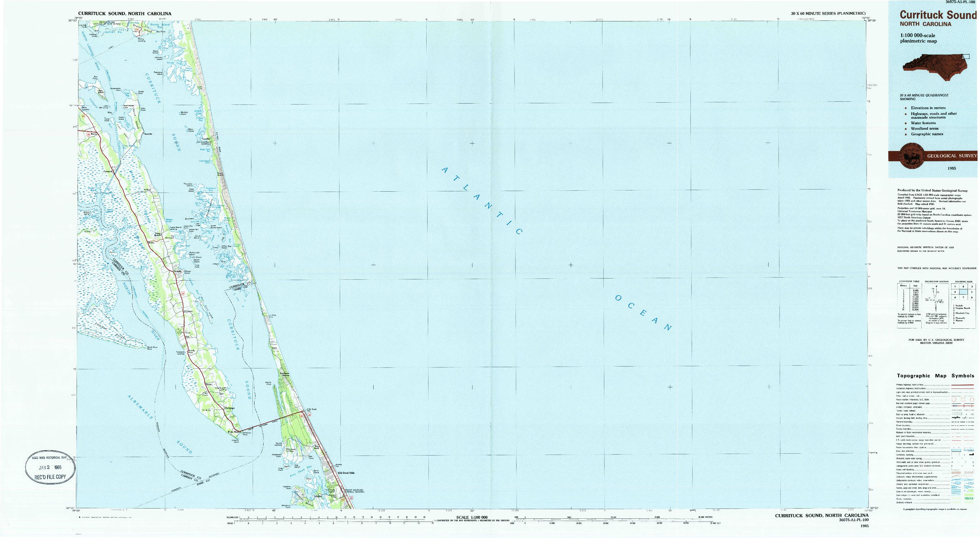USGS 1:100000-SCALE QUADRANGLE FOR CURRITUCK SOUND, NC 1985
