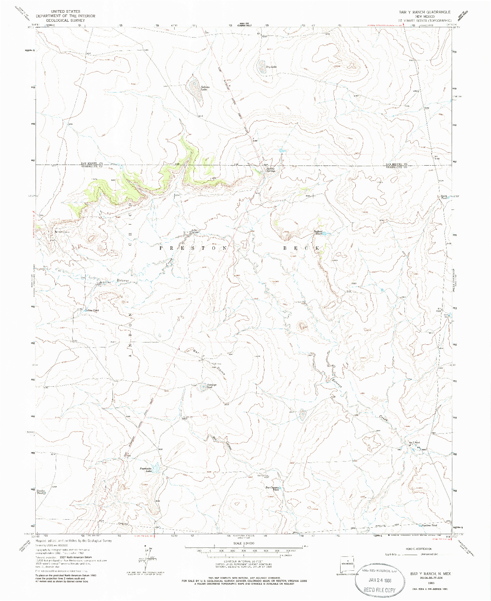 USGS 1:24000-SCALE QUADRANGLE FOR BAR Y RANCH, NM 1963