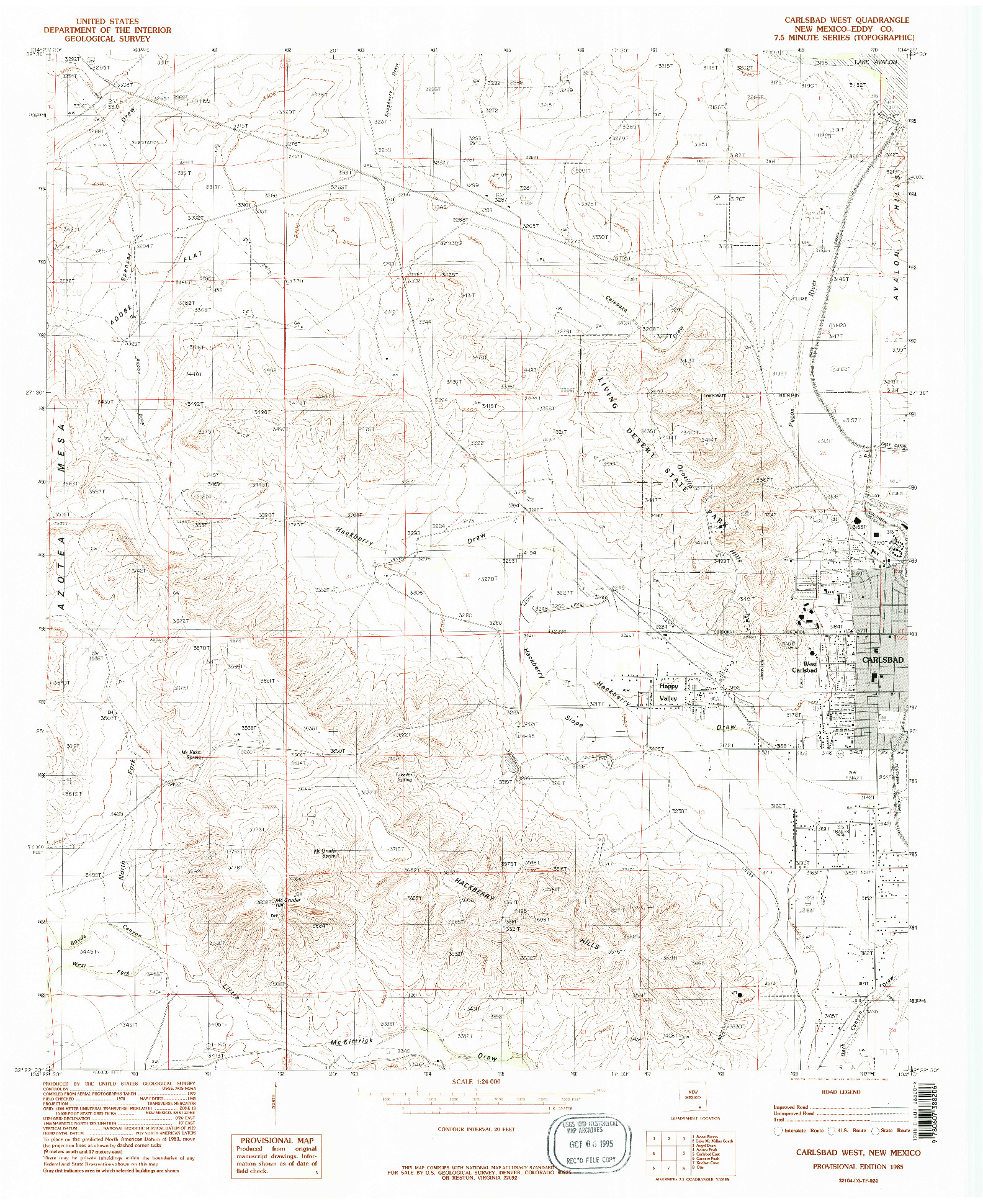 USGS 1:24000-SCALE QUADRANGLE FOR CARLSBAD WEST, NM 1985