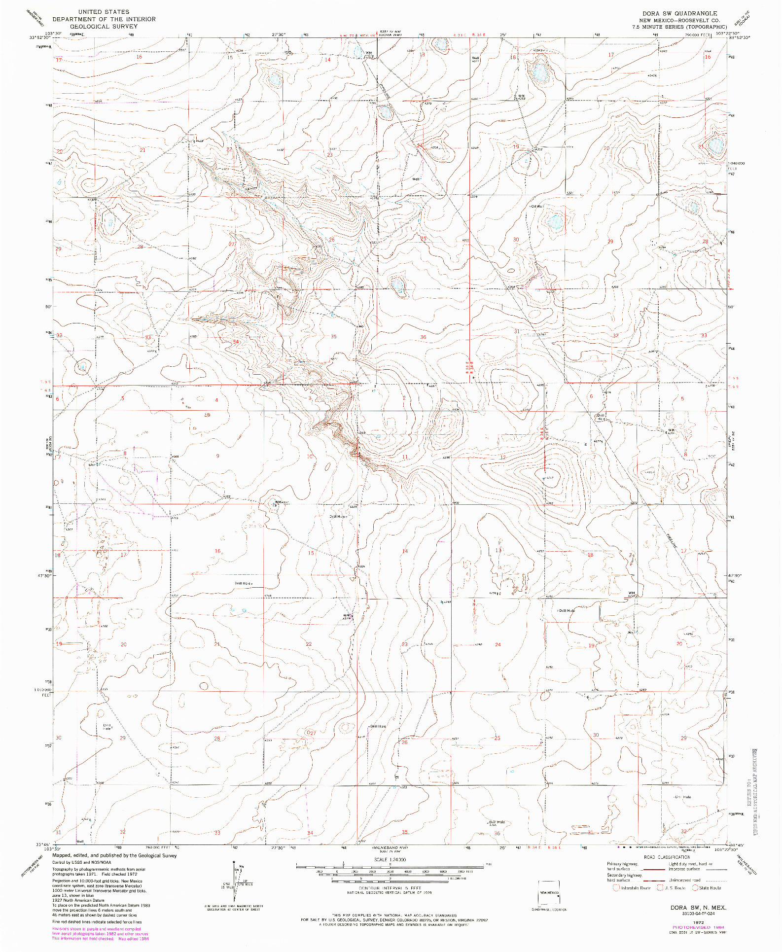 USGS 1:24000-SCALE QUADRANGLE FOR DORA SW, NM 1972