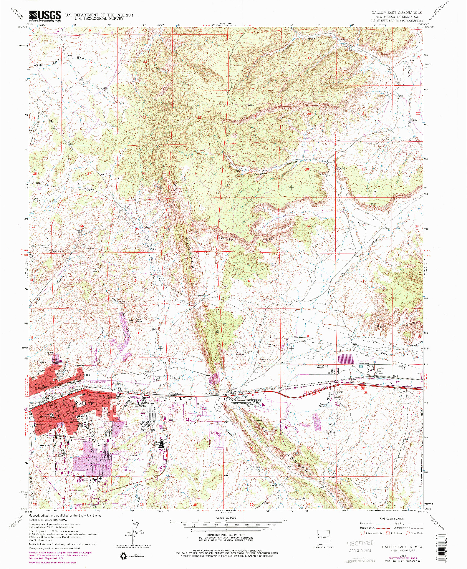 USGS 1:24000-SCALE QUADRANGLE FOR GALLUP EAST, NM 1979