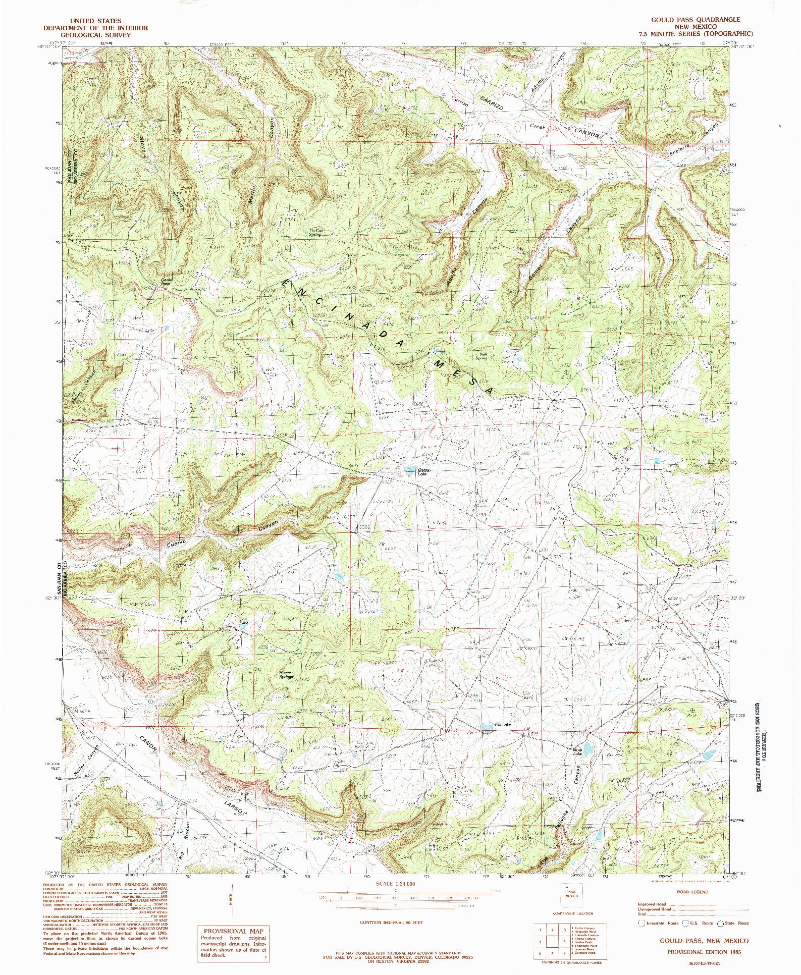 USGS 1:24000-SCALE QUADRANGLE FOR GOULD PASS, NM 1985