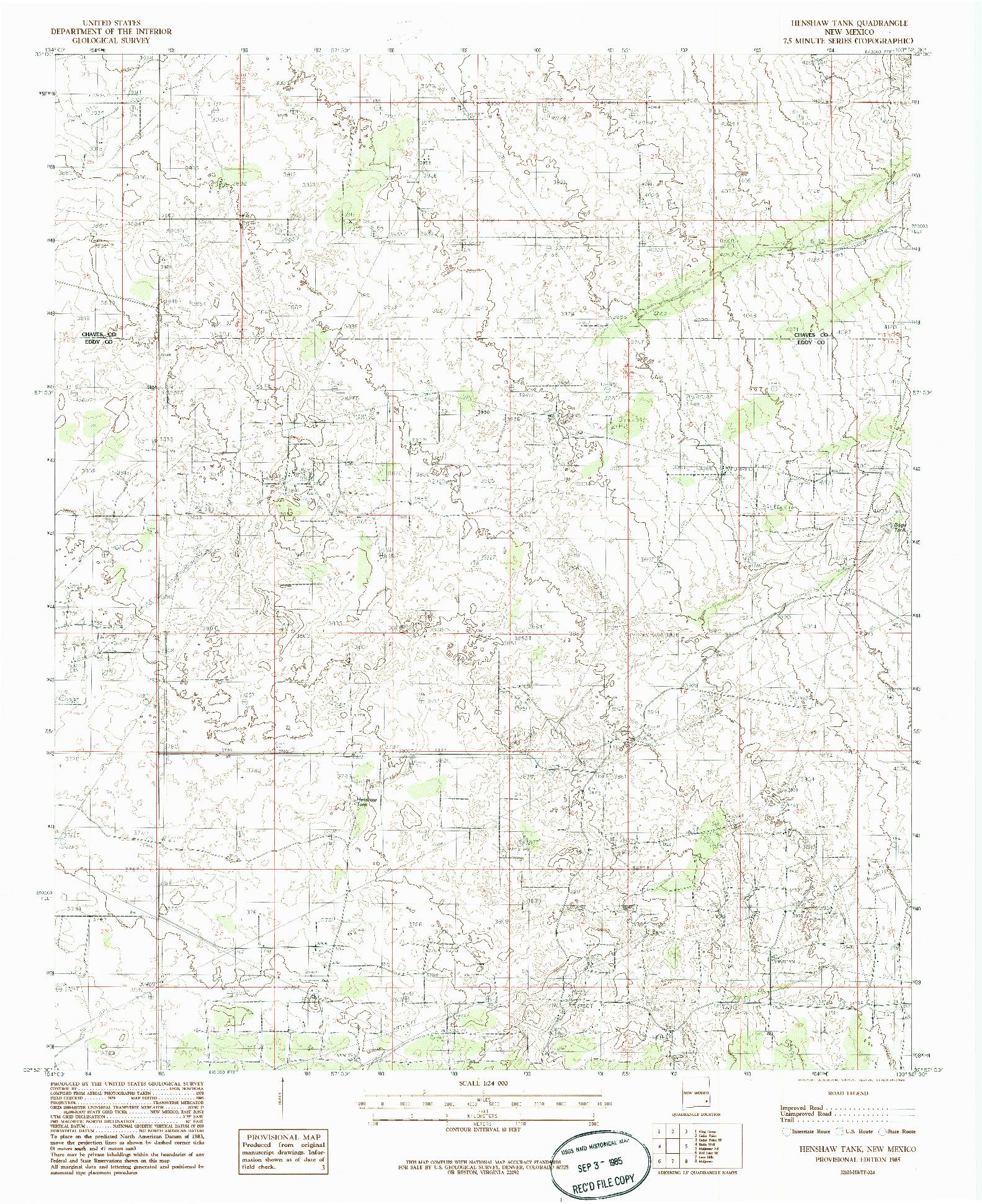 USGS 1:24000-SCALE QUADRANGLE FOR HENSHAW TANK, NM 1985