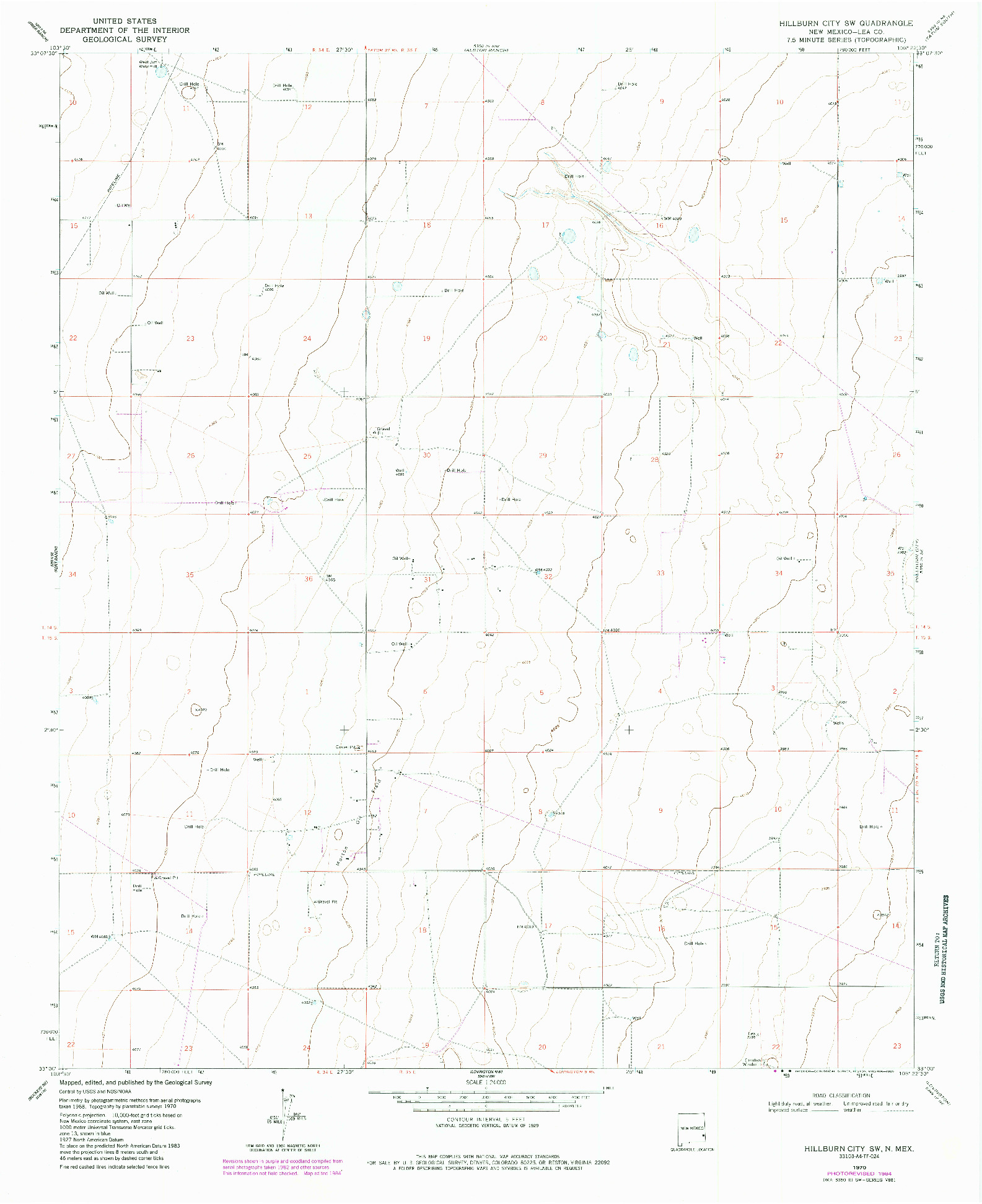 USGS 1:24000-SCALE QUADRANGLE FOR HILLBURN CITY SW, NM 1970