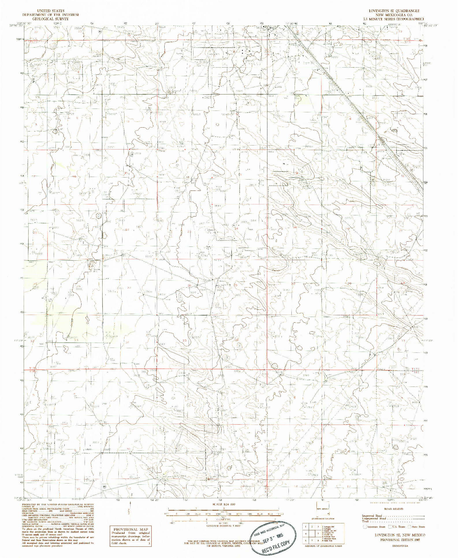 USGS 1:24000-SCALE QUADRANGLE FOR LOVINGTON SE, NM 1985