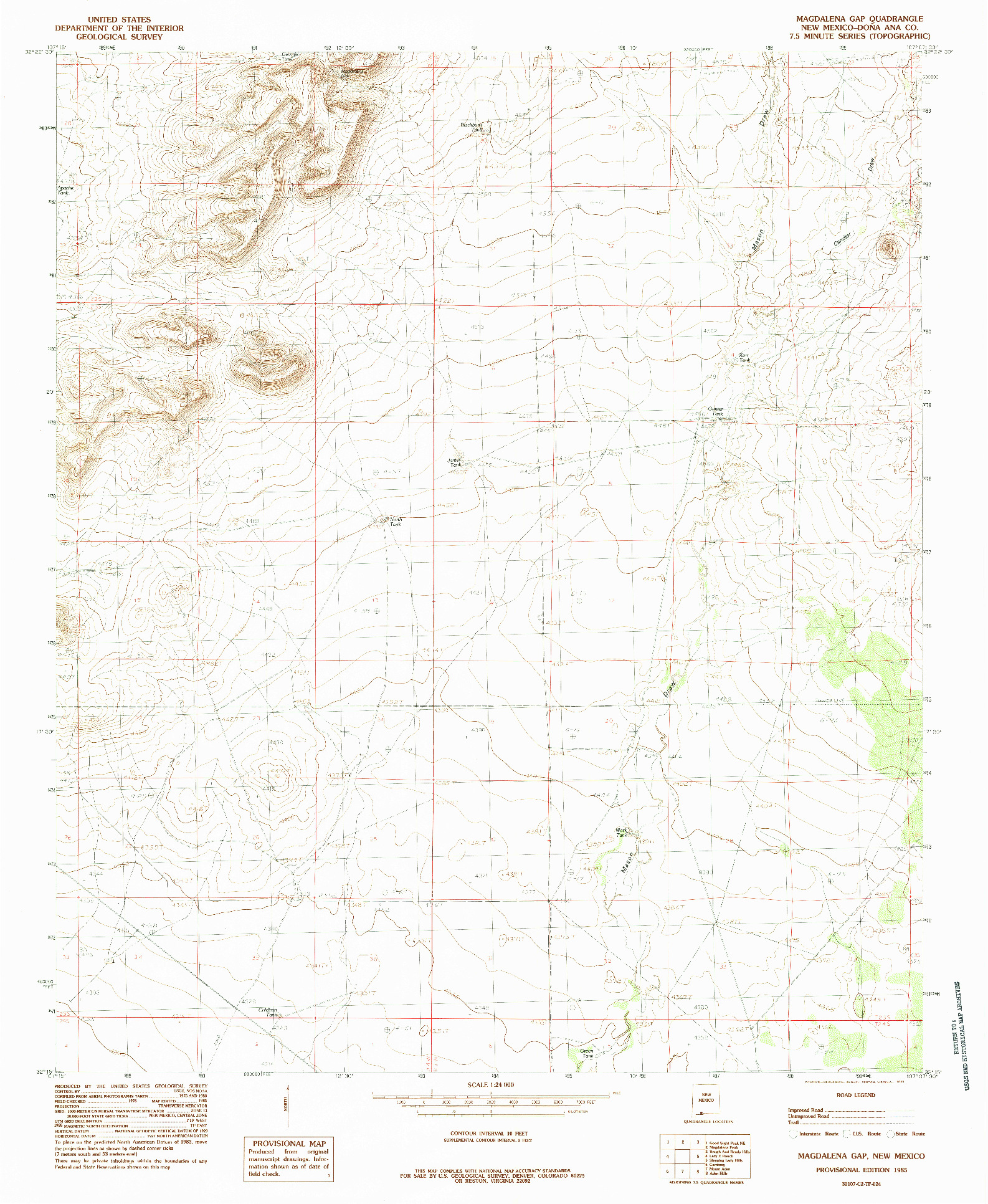 USGS 1:24000-SCALE QUADRANGLE FOR MAGDALENA GAP, NM 1985