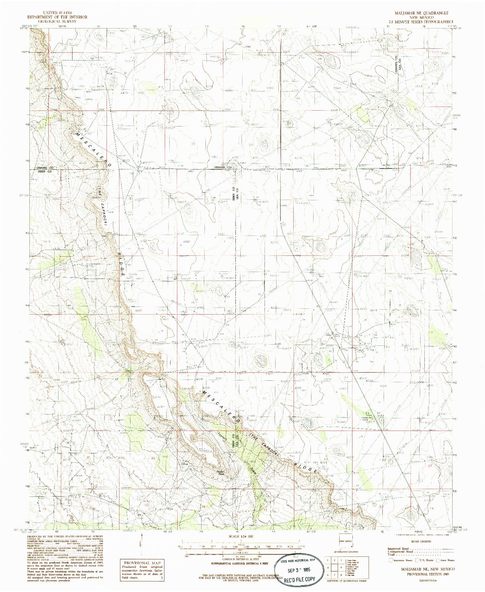 USGS 1:24000-SCALE QUADRANGLE FOR MALJAMAR NE, NM 1985