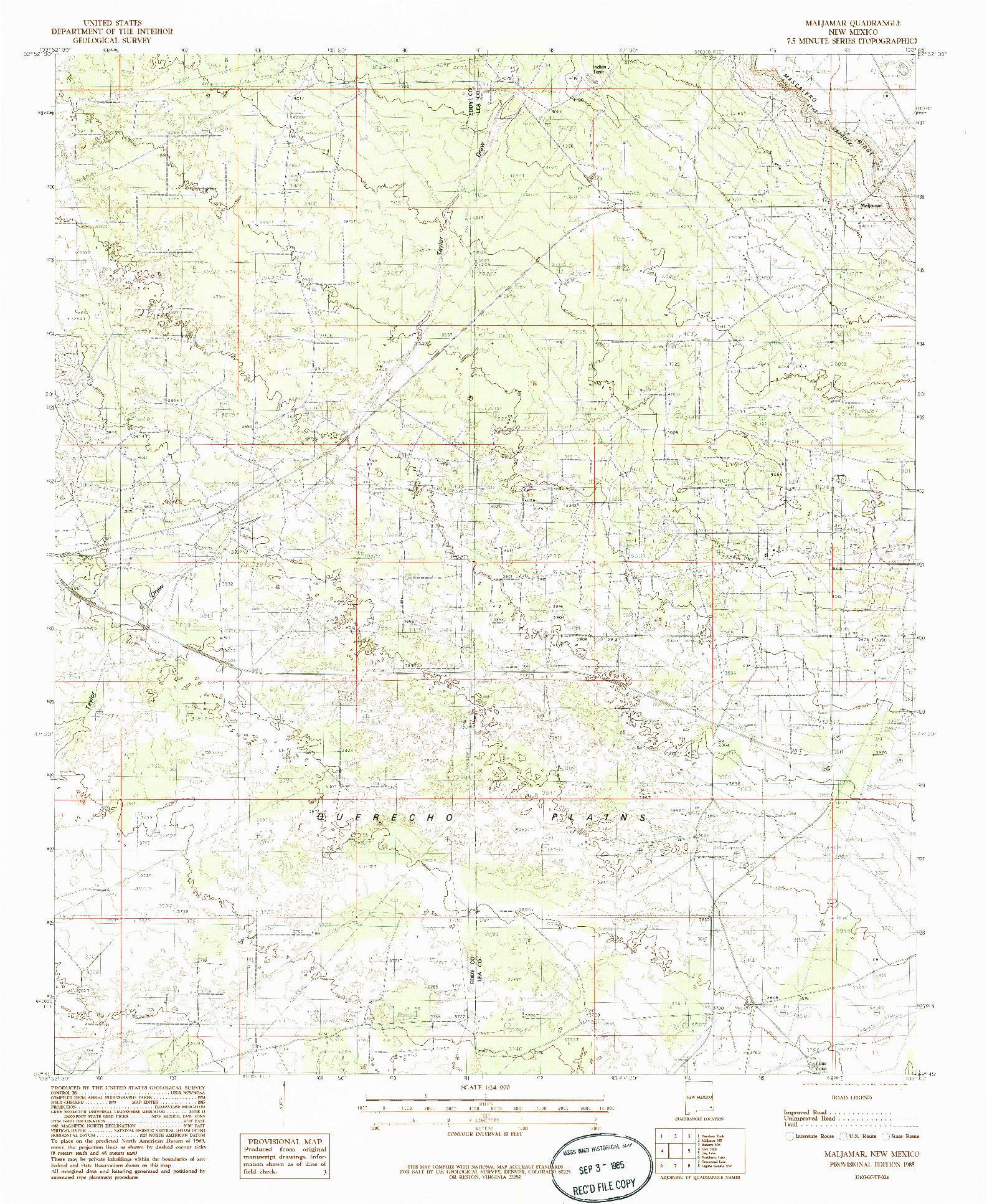 USGS 1:24000-SCALE QUADRANGLE FOR MALJAMAR, NM 1985