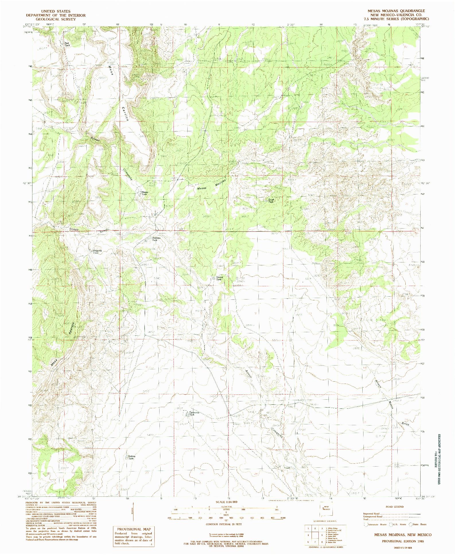 USGS 1:24000-SCALE QUADRANGLE FOR MESAS MOJINAS, NM 1985
