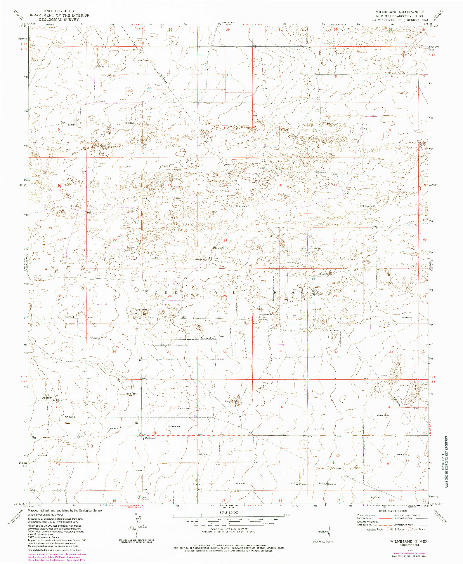 USGS 1:24000-SCALE QUADRANGLE FOR MILNESAND, NM 1972