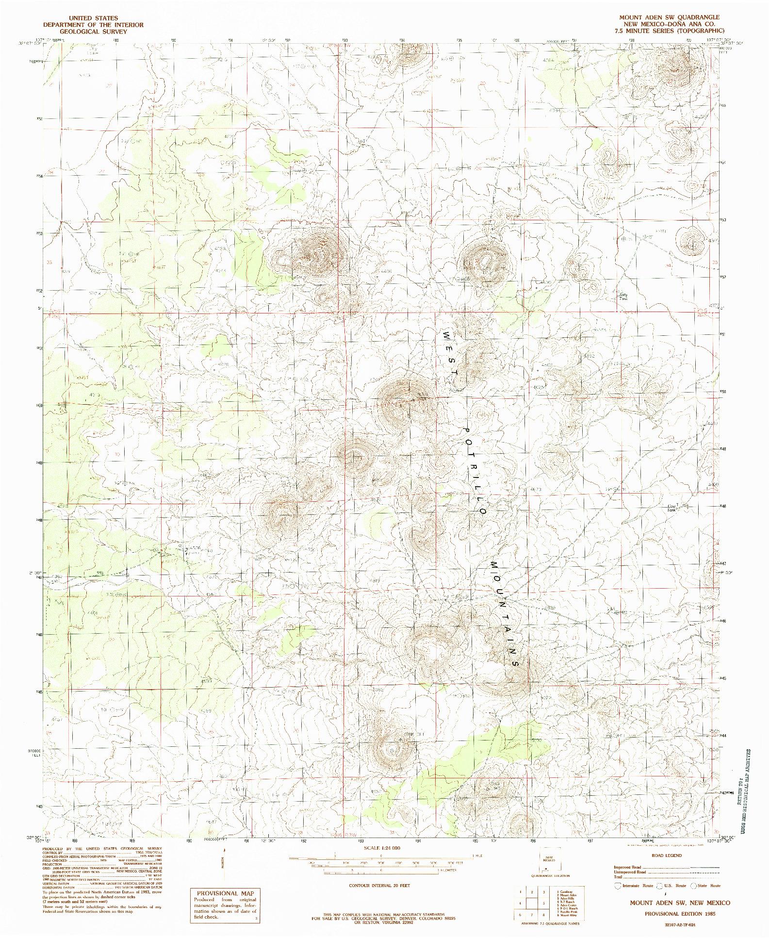 USGS 1:24000-SCALE QUADRANGLE FOR MOUNT ADEN SW, NM 1985