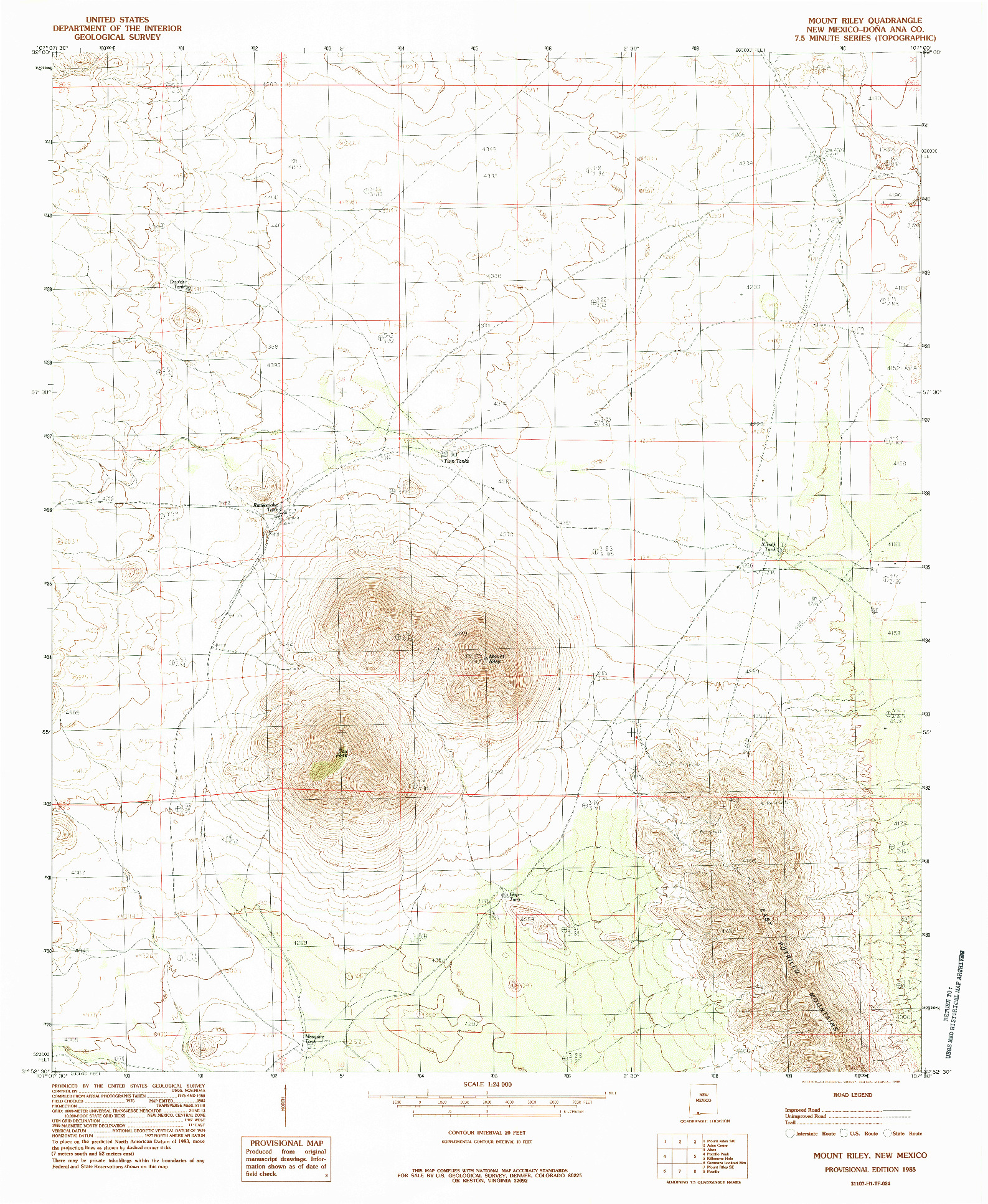 USGS 1:24000-SCALE QUADRANGLE FOR MOUNT RILEY, NM 1985