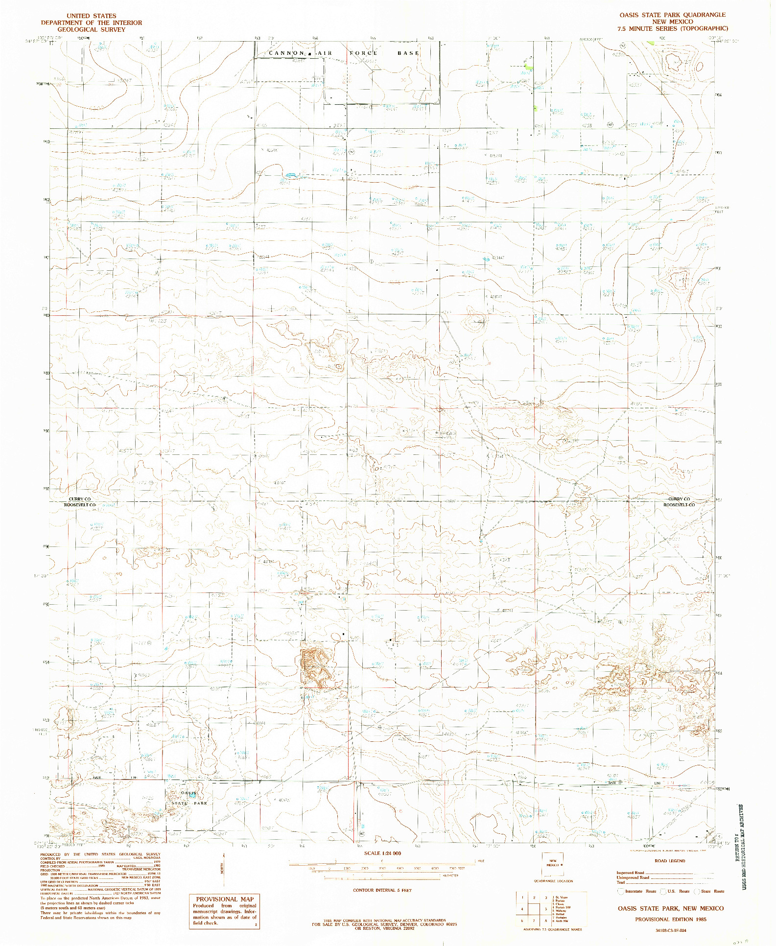USGS 1:24000-SCALE QUADRANGLE FOR OASIS STATE PARK, NM 1985