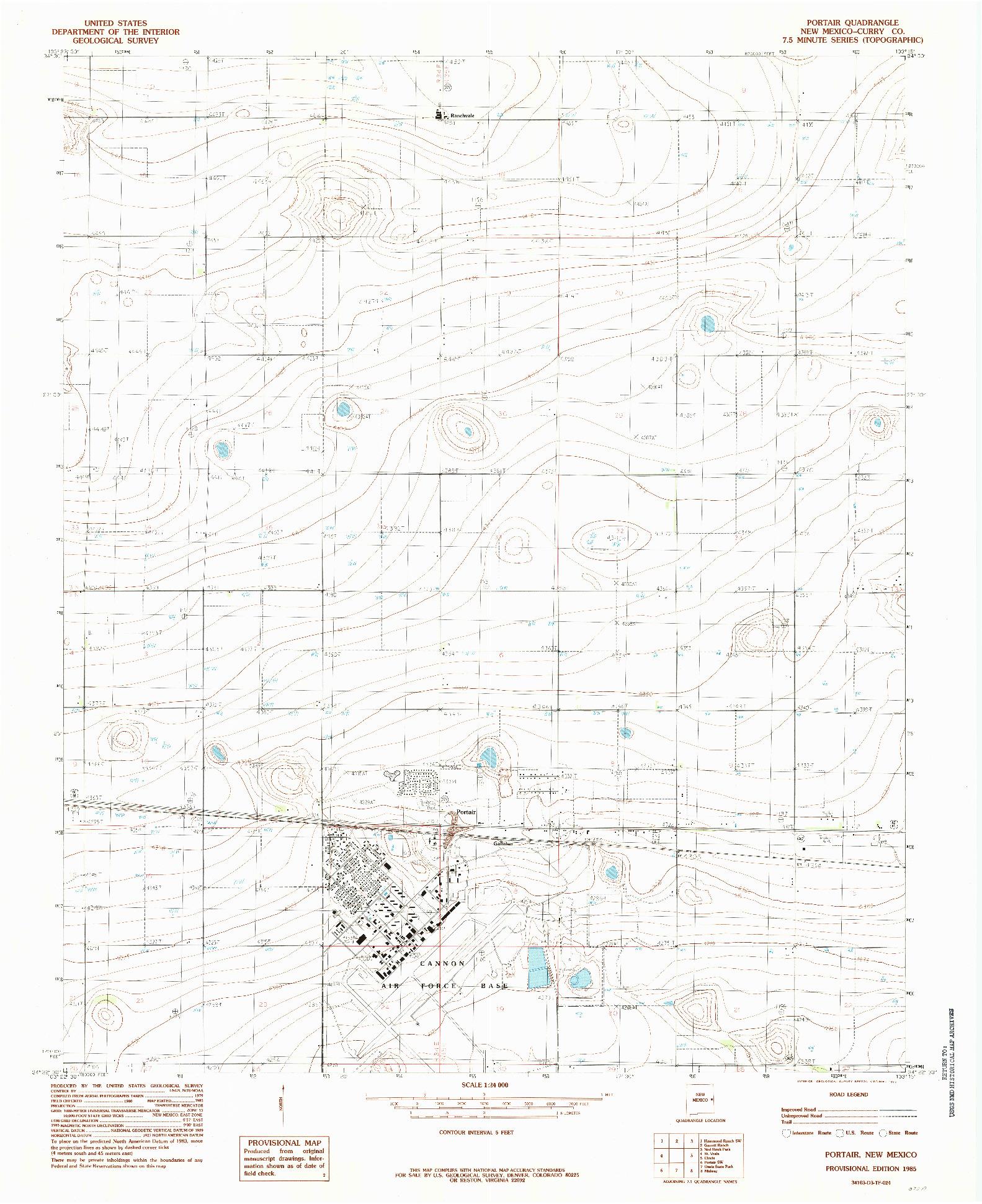USGS 1:24000-SCALE QUADRANGLE FOR PORTAIR, NM 1985