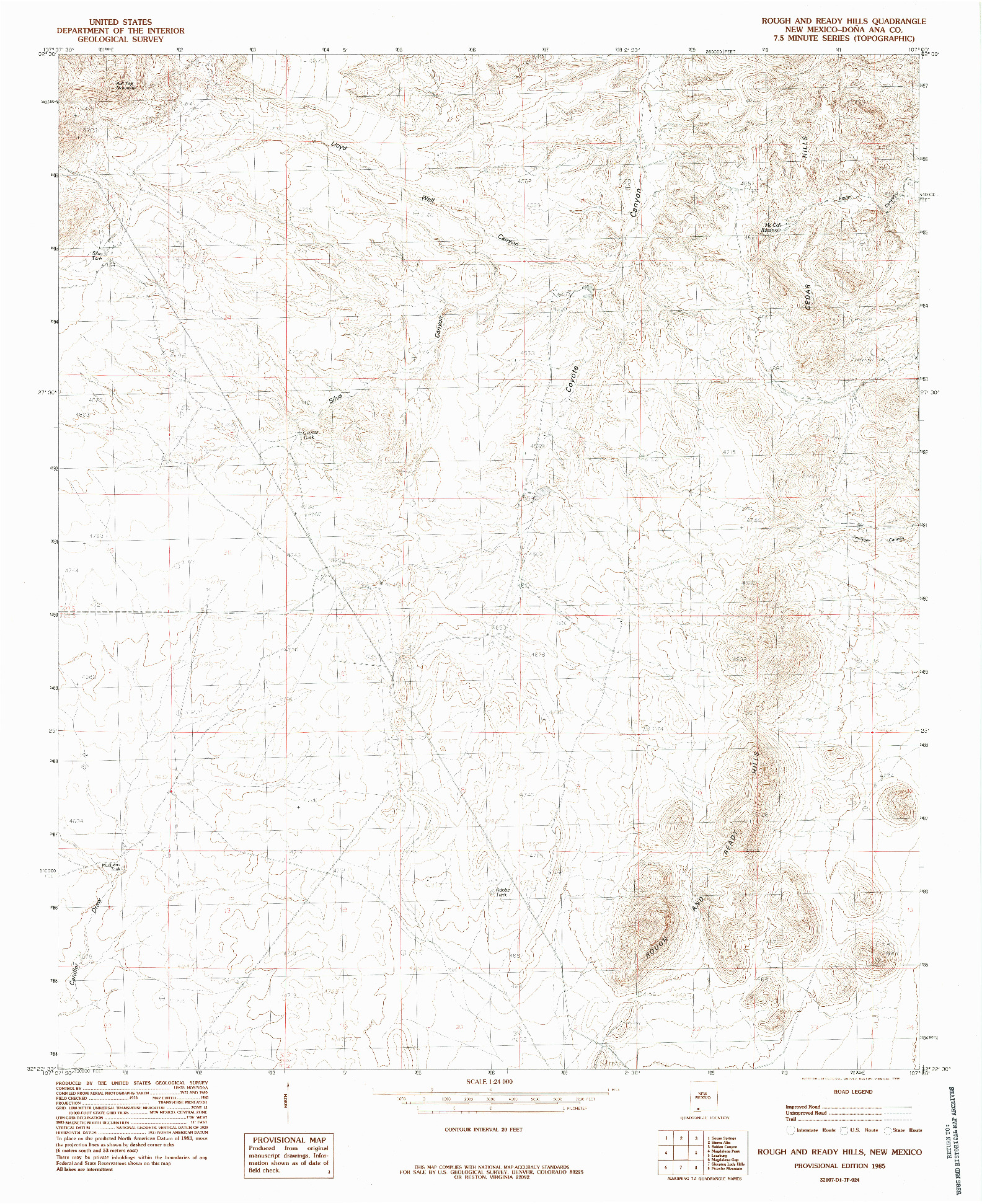 USGS 1:24000-SCALE QUADRANGLE FOR ROUGH AND READY HILLS, NM 1985