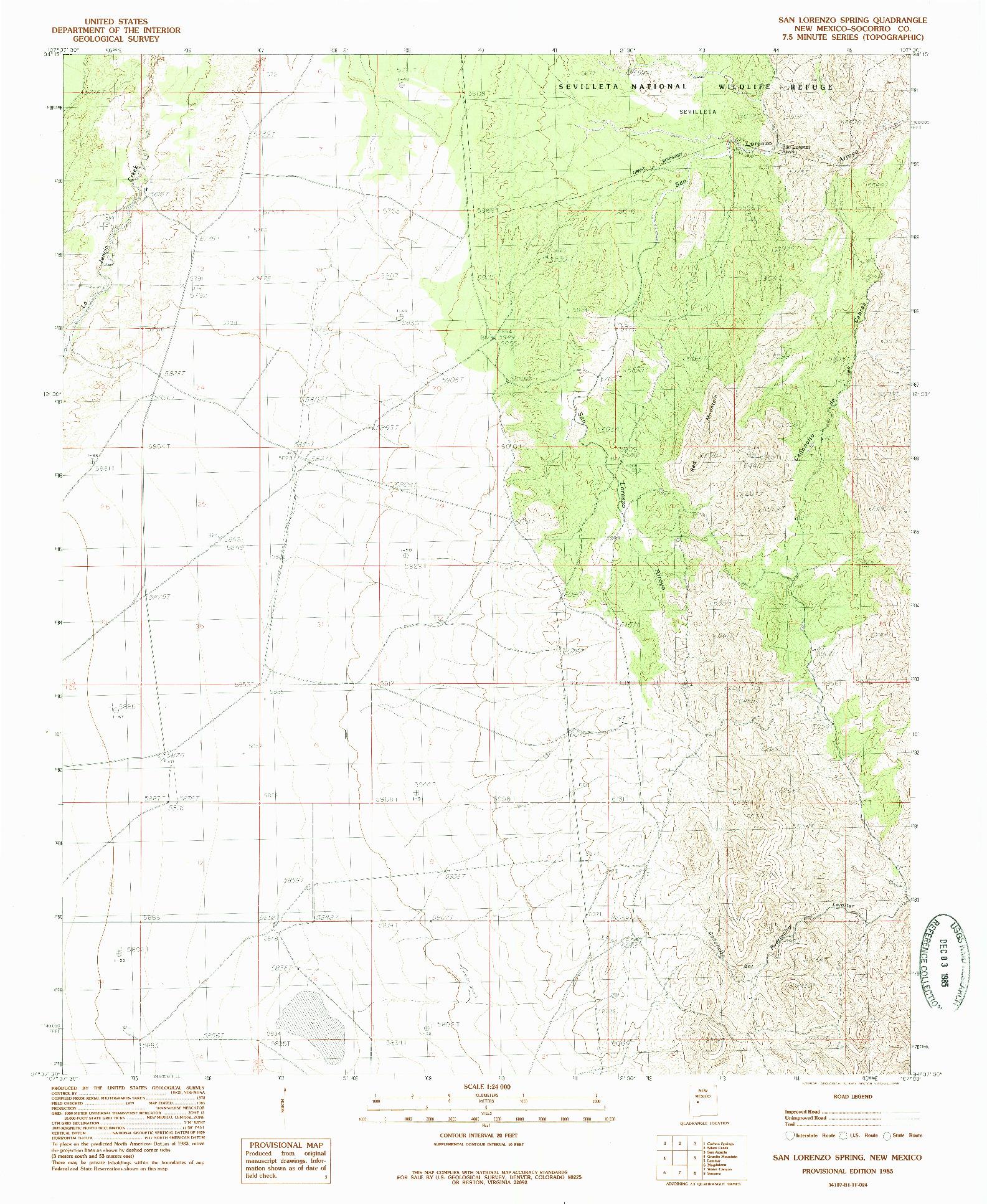 USGS 1:24000-SCALE QUADRANGLE FOR SAN LORENZO SPRING, NM 1985