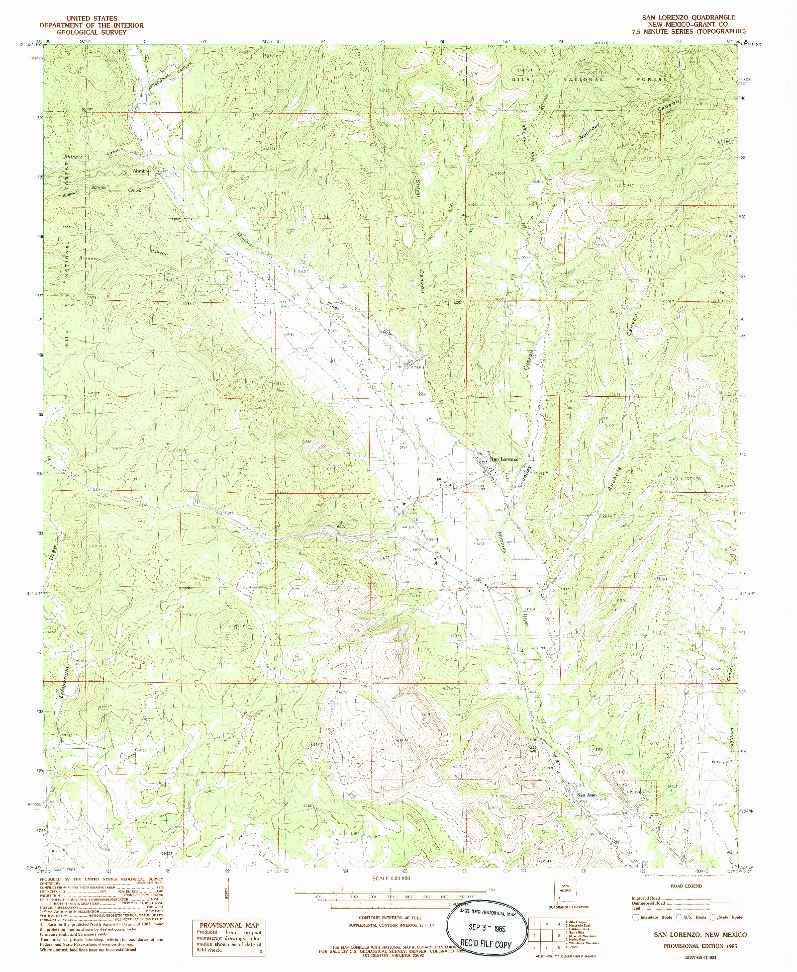USGS 1:24000-SCALE QUADRANGLE FOR SAN LORENZO, NM 1985